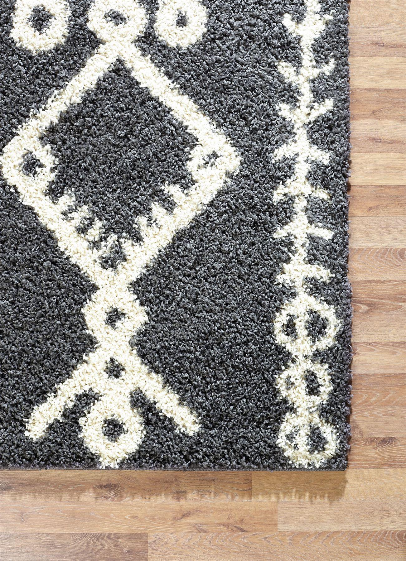 Tappeto-A2Z-Nero-Grigio-Avorio-tradizionale-marocchina-Shaggy-Berber-Boho-Tribal-3cm-Pile miniatura 25