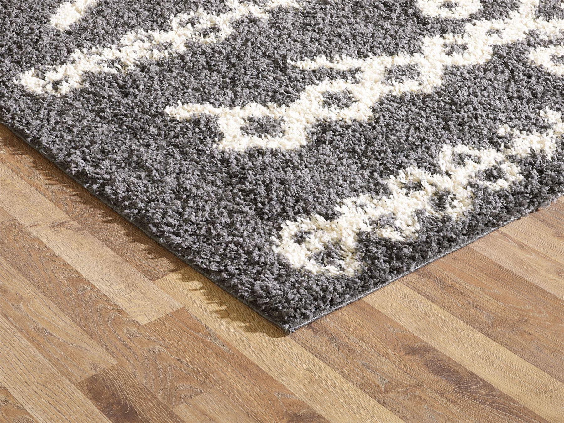 Moroccan-Shaggy-Area-Rug-Grey-White-Black-Soft-Carpet-Traditional-Berber-Designs thumbnail 11