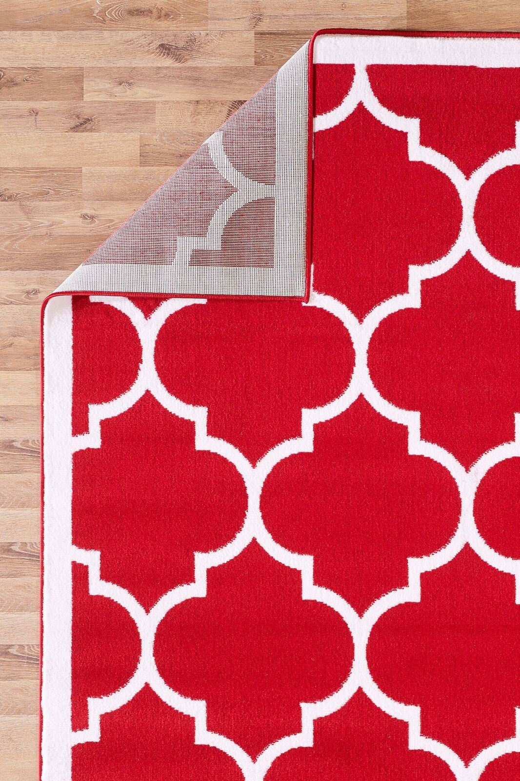 Large modern geometric moroccan trellis thin carpet red for Large red area rugs