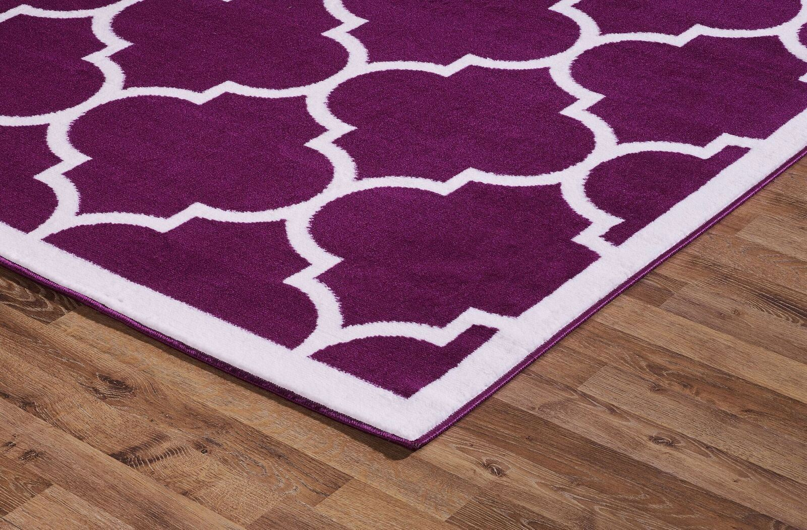 Medium Large Purple Soft Floor Mat Carpets White Moroccan