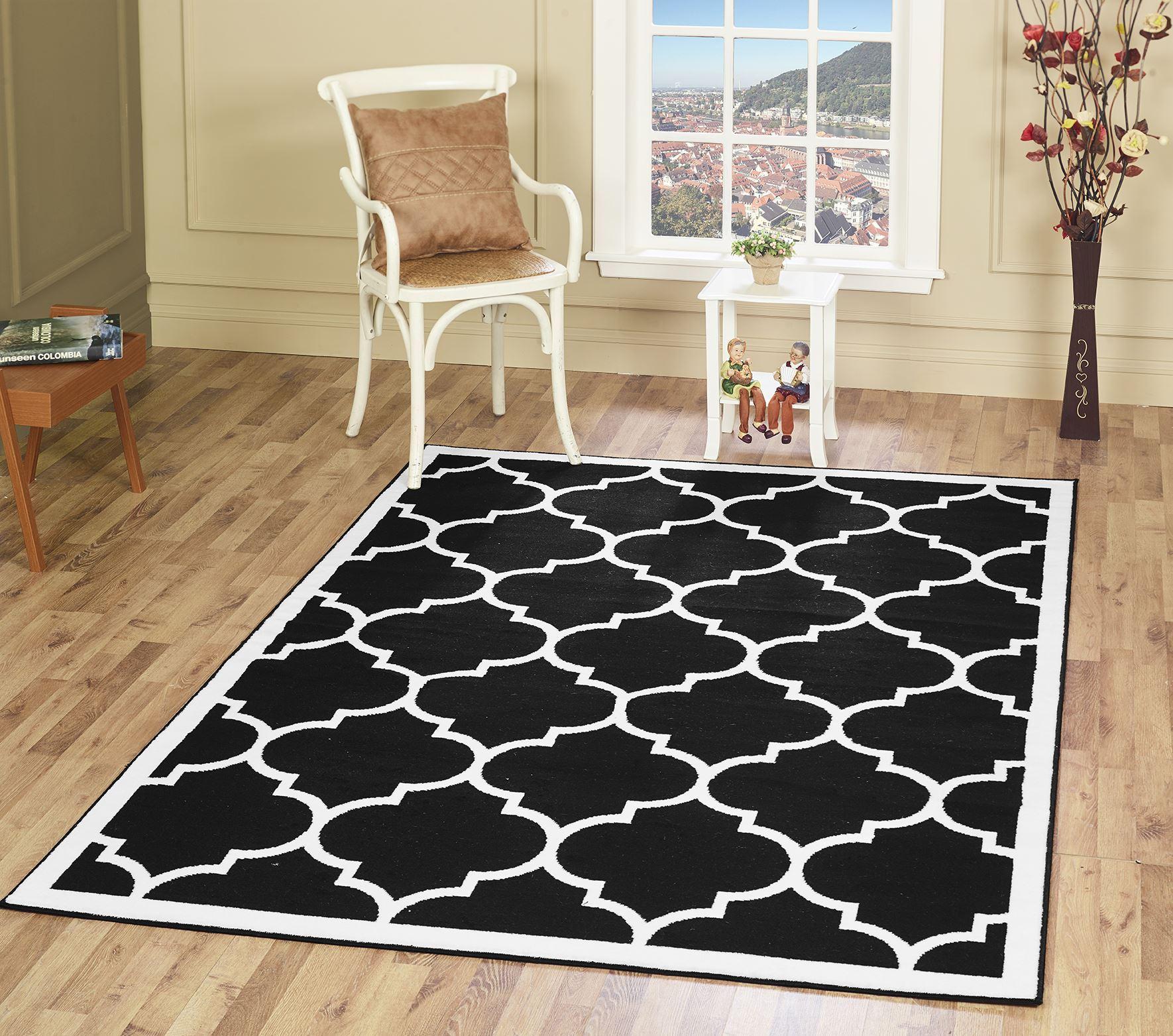 Large Black Geometric Moroccan Trellis Thin Carpets Modern ...