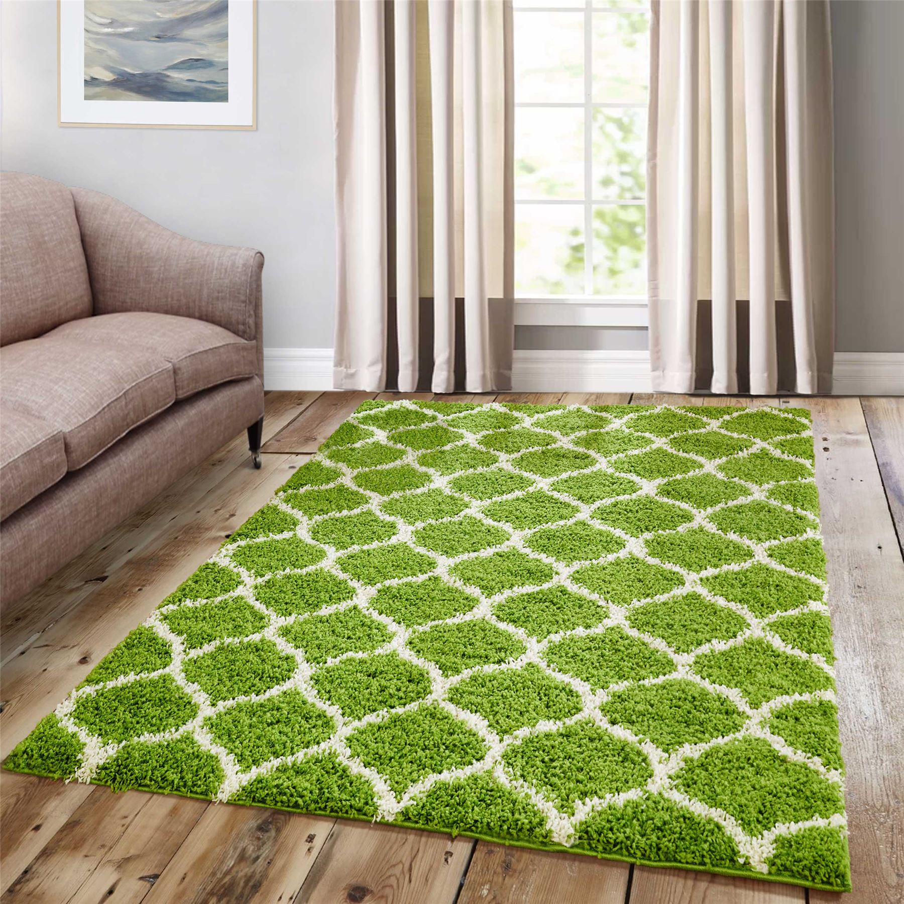 Dense-Pile-Trellis-Bedroom-Carpets-Thick-Shaggy-Rugs-Modern-Coloured-Pattern-Mat thumbnail 11