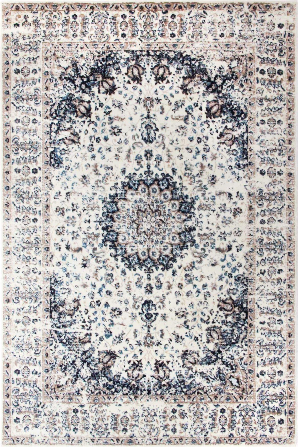 Area-di-Pavimento-Soggiorno-Tappeti-Navy-Avorio-Vintage-Oriental-Floral-Medallion-Rugs miniatura 9
