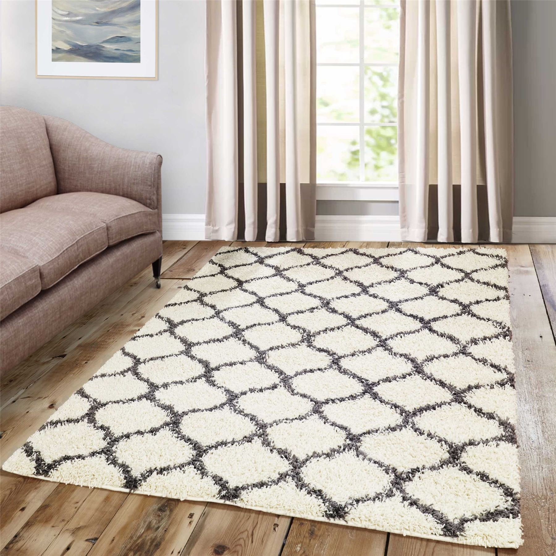 Dense-Pile-Trellis-Bedroom-Carpets-Thick-Shaggy-Rugs-Modern-Coloured-Pattern-Mat thumbnail 14