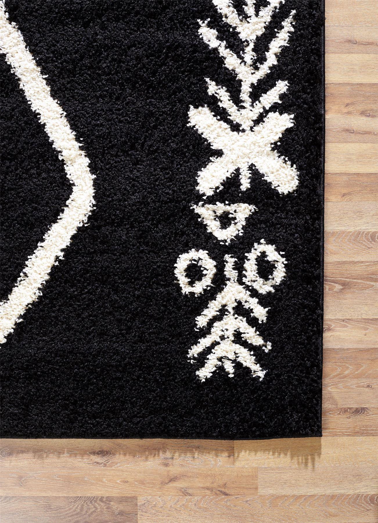A2Z-Tappeto-Grande-Nero-Bianco-Grigio-Crema-Shaggy-tradizionale-Marocchino-Tribal-3cm-Pile miniatura 6