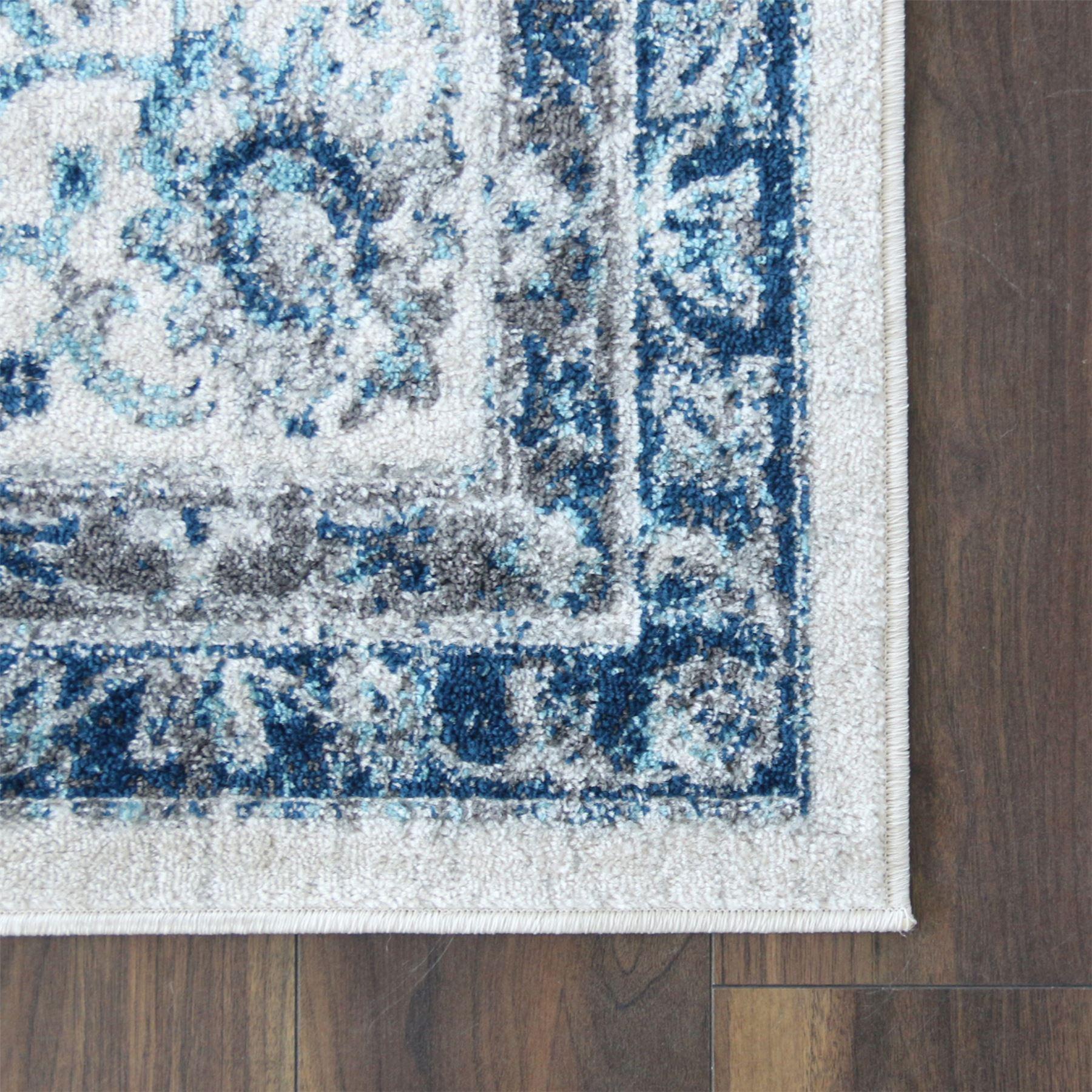 A2Z-Grande-Crema-Avorio-Blu-TRADIZIONALE-DESIGN-VINTAGE-tappeti-persiani-TAPPETI-CAMERA miniatura 4