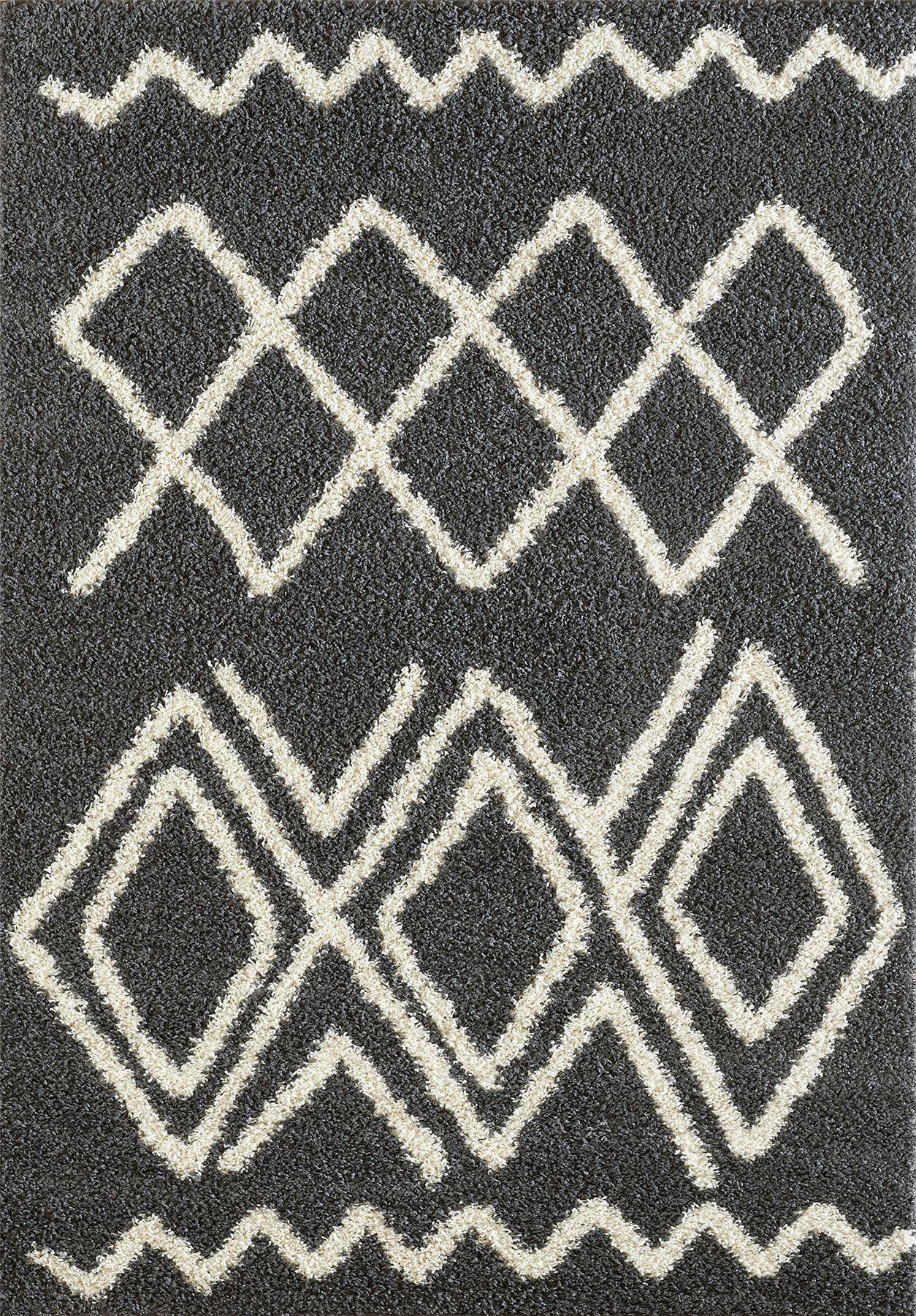 Tappeto-A2Z-Nero-Grigio-Avorio-tradizionale-marocchina-Shaggy-Berber-Boho-Tribal-3cm-Pile miniatura 54