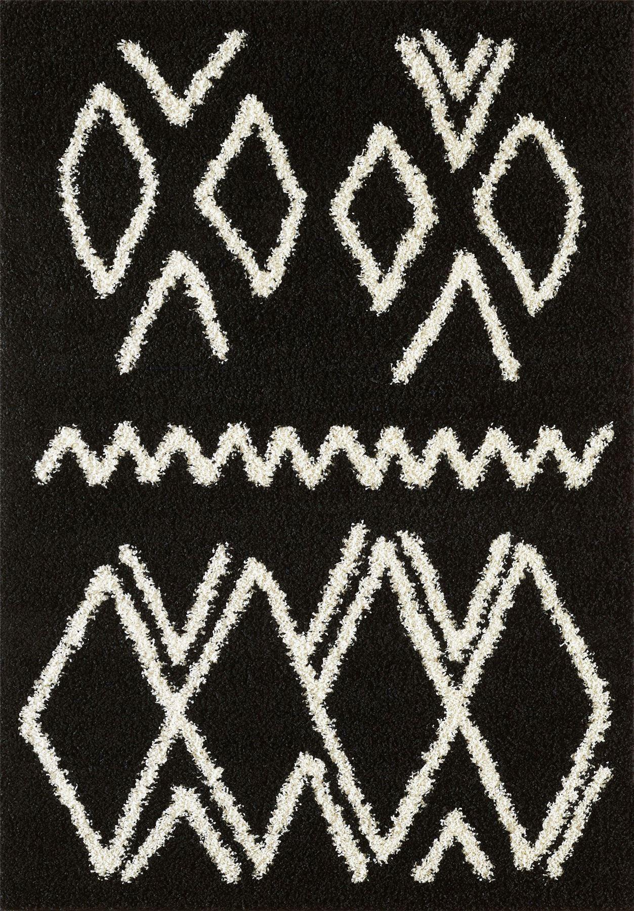 Tappeto-A2Z-Nero-Grigio-Avorio-tradizionale-marocchina-Shaggy-Berber-Boho-Tribal-3cm-Pile miniatura 64