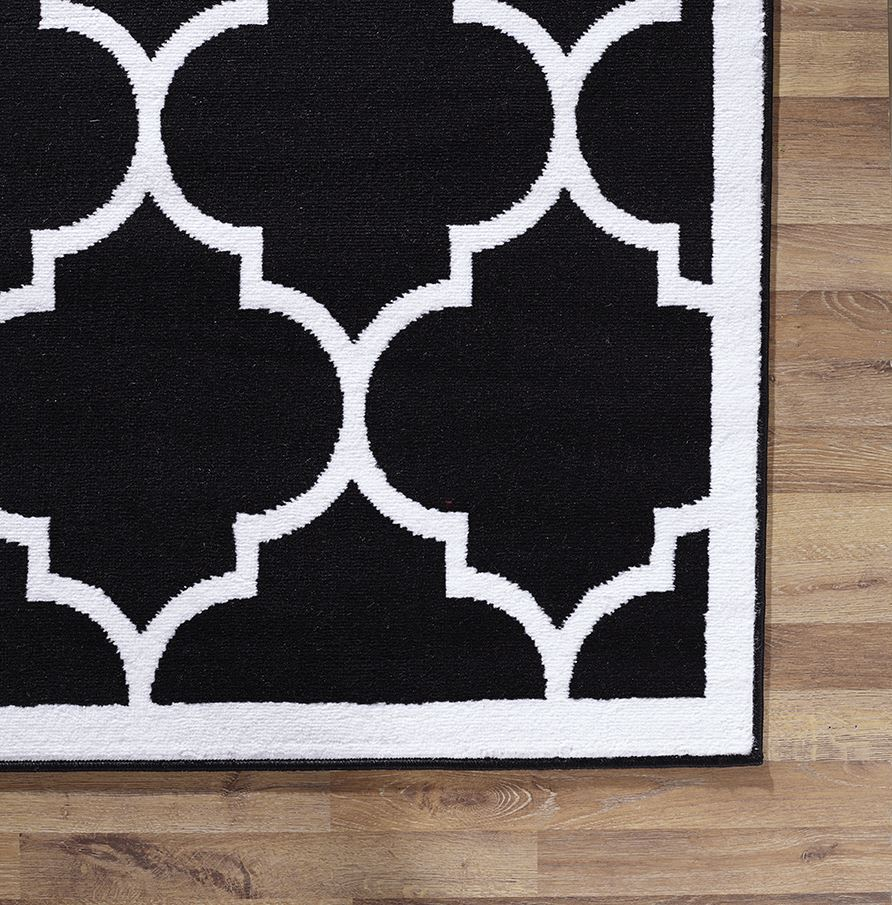 Large Modern Geometric Moroccan Trellis Thin Carpet Black