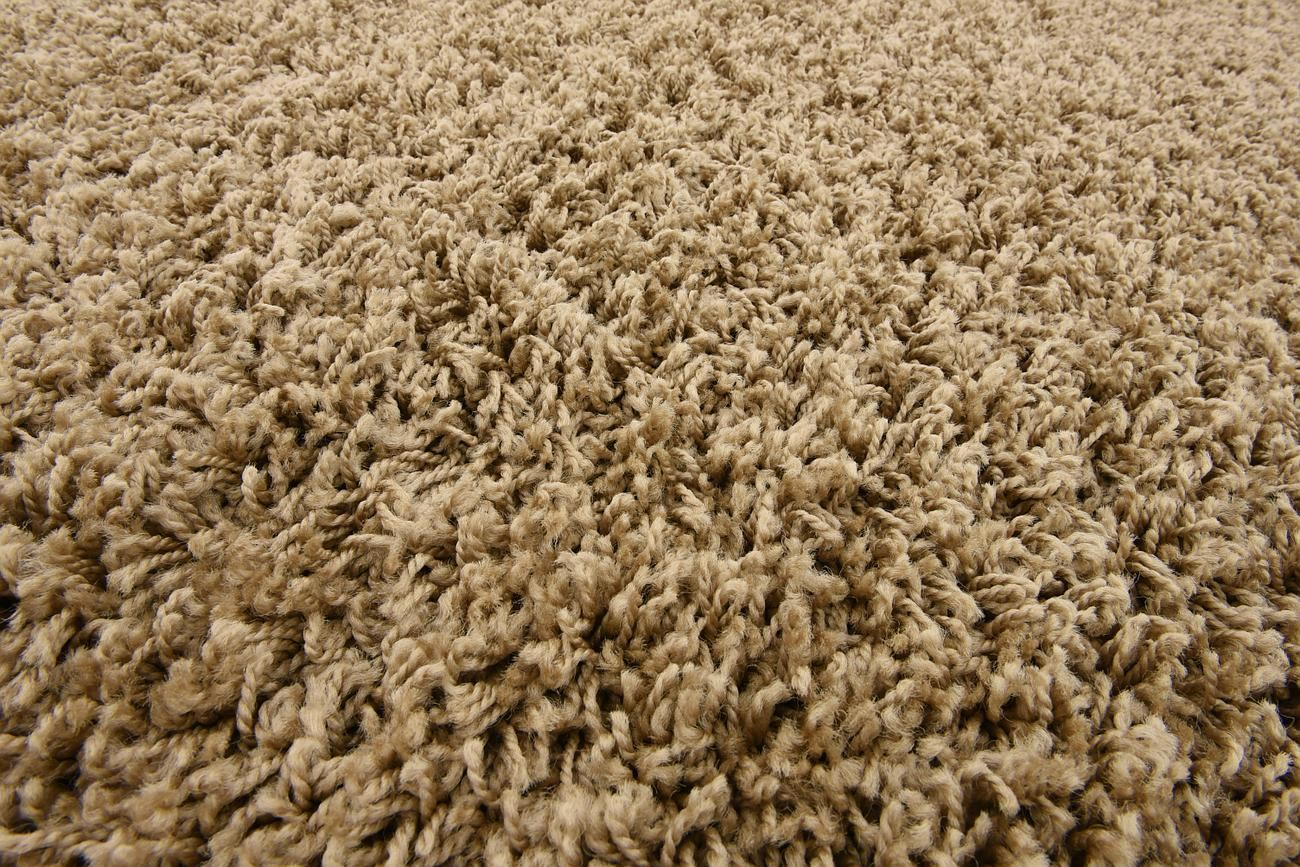 Dark Beige Shaggy Rug Warm Soft Fluffy Carpet Modern Area