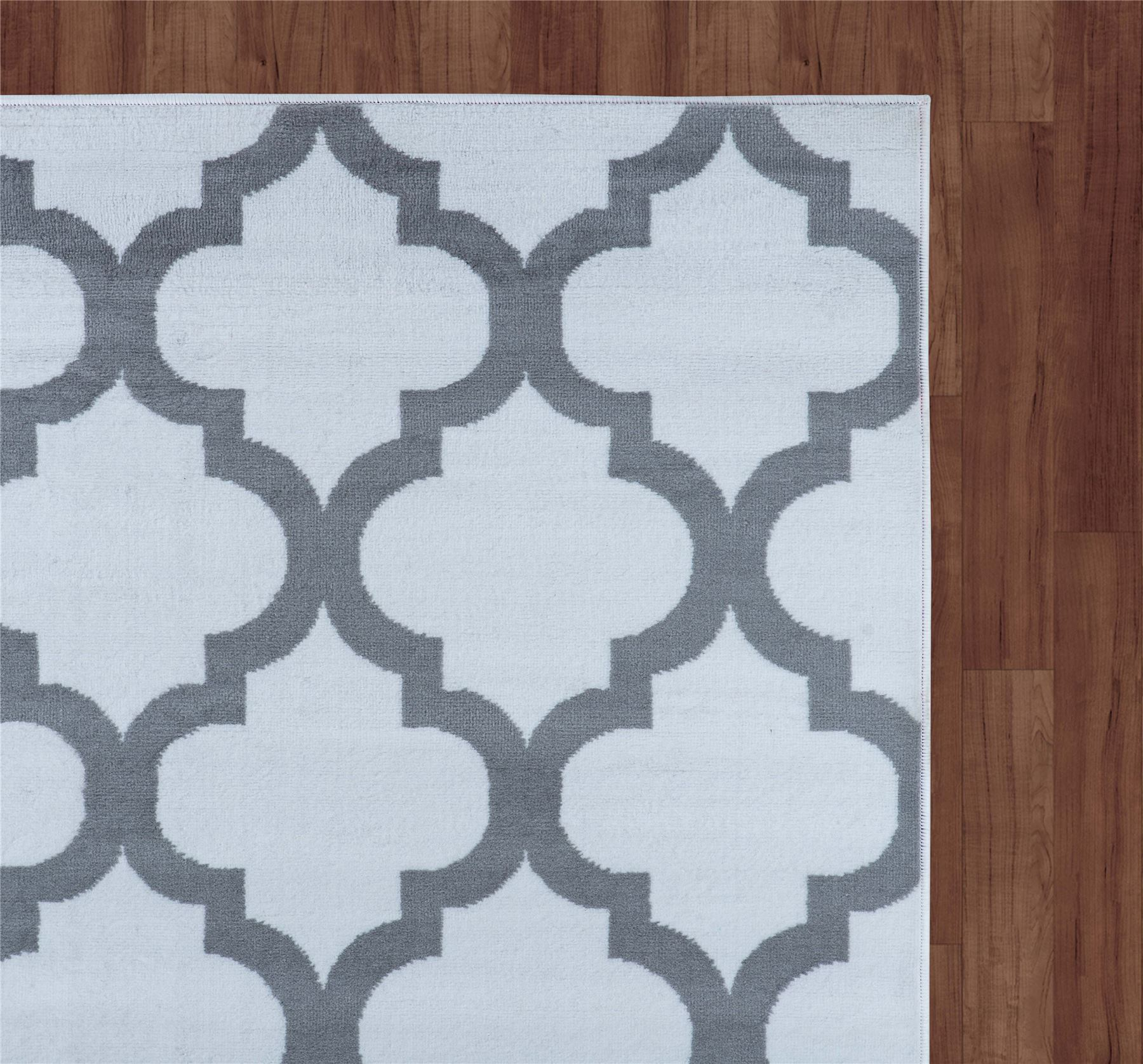 Modern Geometric Trellis Moroccan Grey Carpet Contemporary