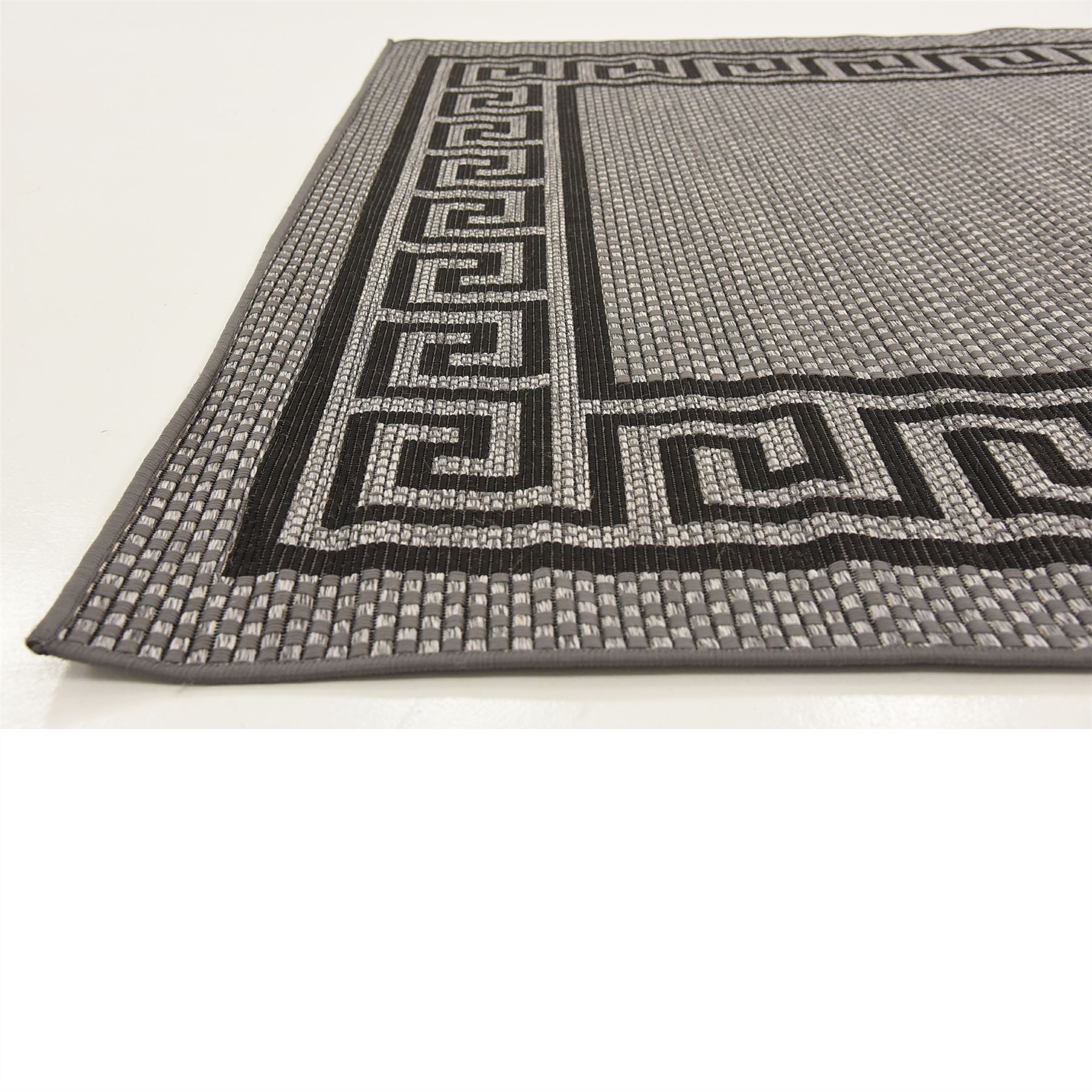 Black Graphic Woven Emerson Indoor Outdoor Area Rug: Modern Outdoor Thin Area Rug Contemporary Plain Large