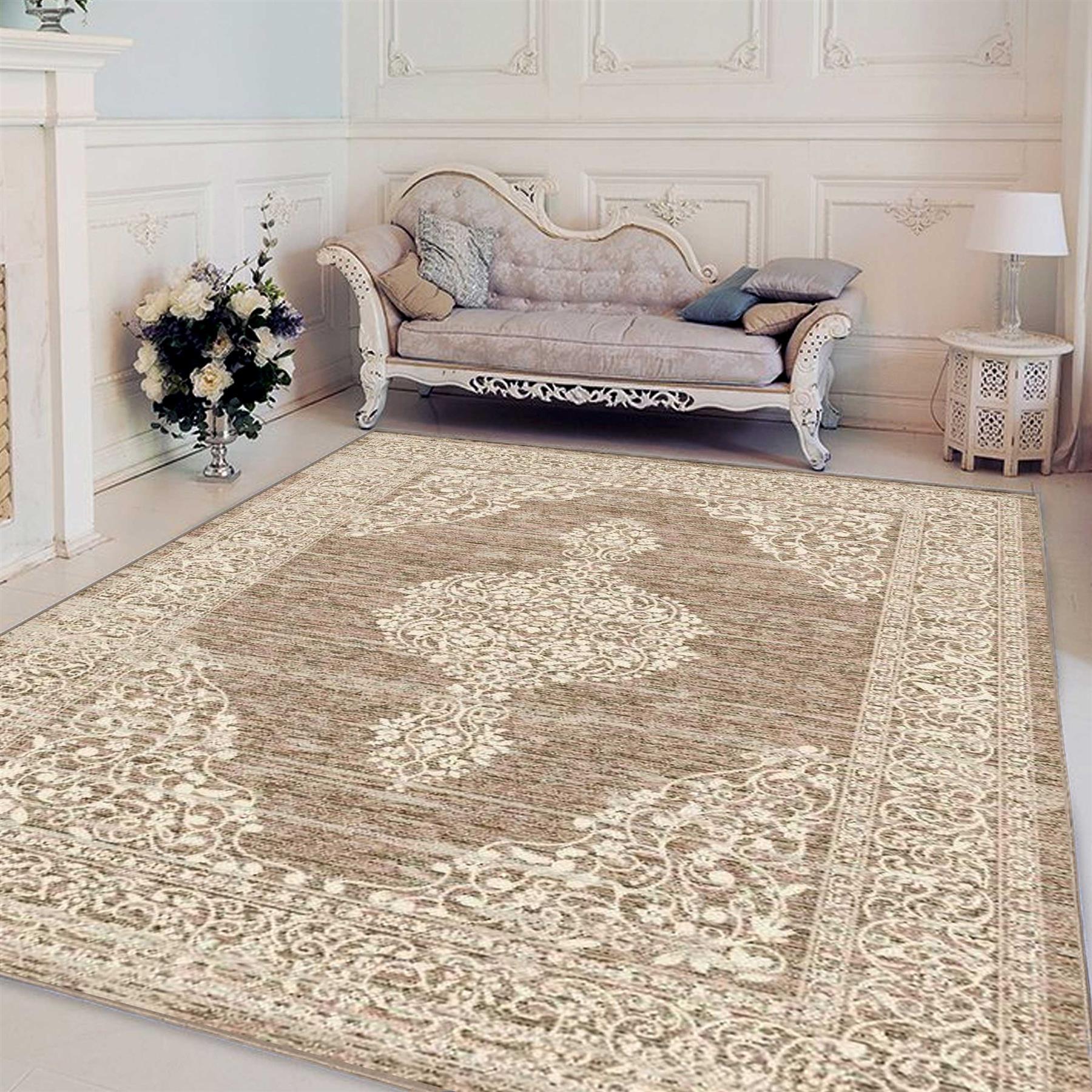 Marrone-Grande-Colore-Naturale-Tradizionale-Orientale-Tappeto-Persiano-Stile-Pavimento-Tappeti miniatura 3