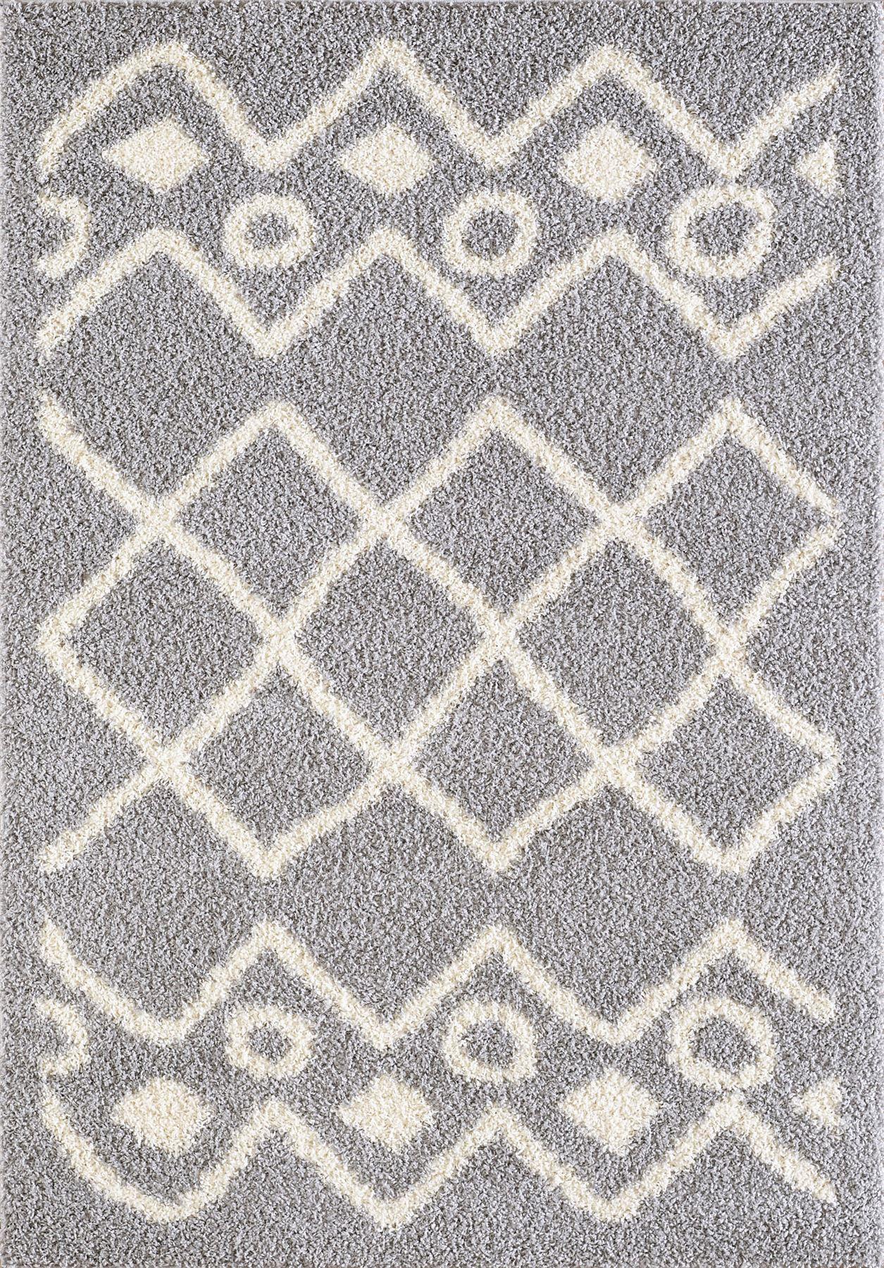 Tappeto-A2Z-Nero-Grigio-Avorio-tradizionale-marocchina-Shaggy-Berber-Boho-Tribal-3cm-Pile miniatura 27