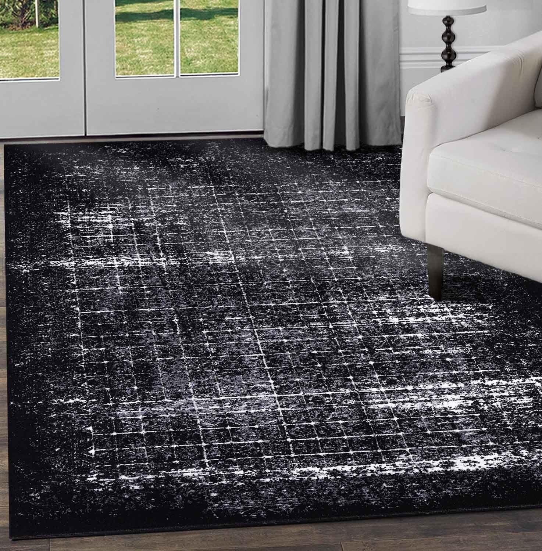 Nero-Grigio-beige-avorio-moderno-tappeti-VINTAGE-ASTRATTO-OMBRA-Lounge-Pavimento-Tappeti miniatura 11