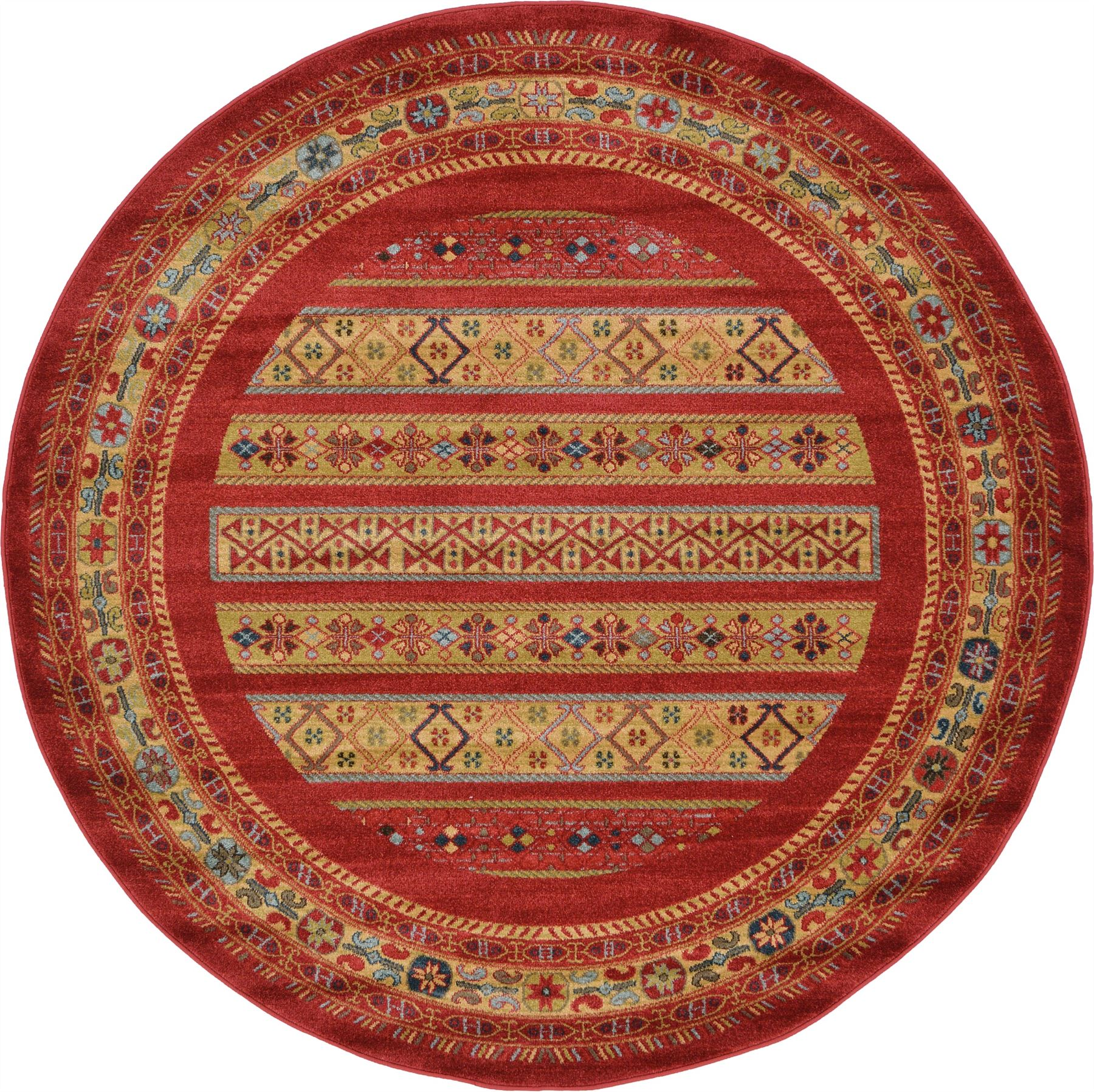 Oriental Modern Area Rug Soft Round Carpet Tribal