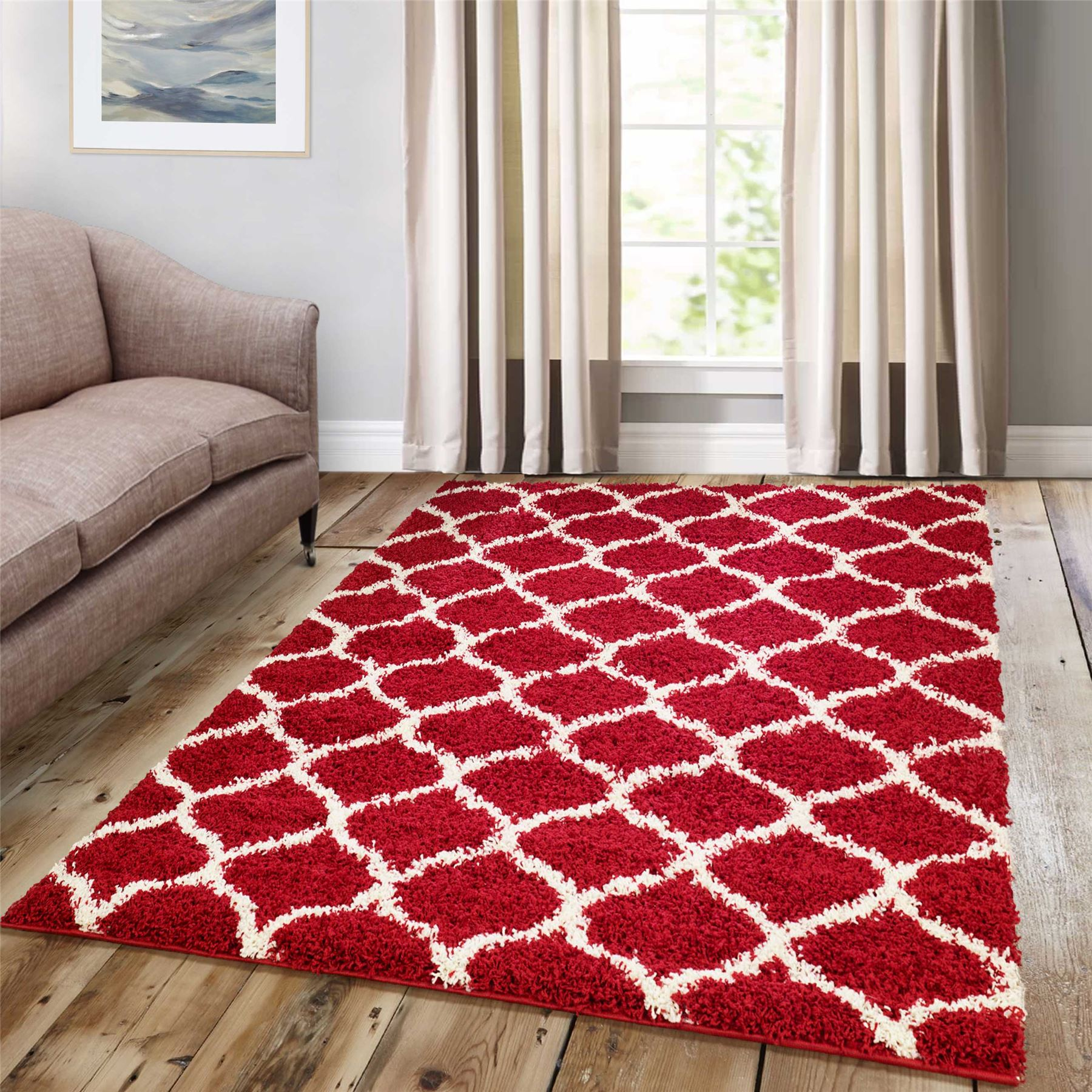 Dense-Pile-Trellis-Bedroom-Carpets-Thick-Shaggy-Rugs-Modern-Coloured-Pattern-Mat thumbnail 20