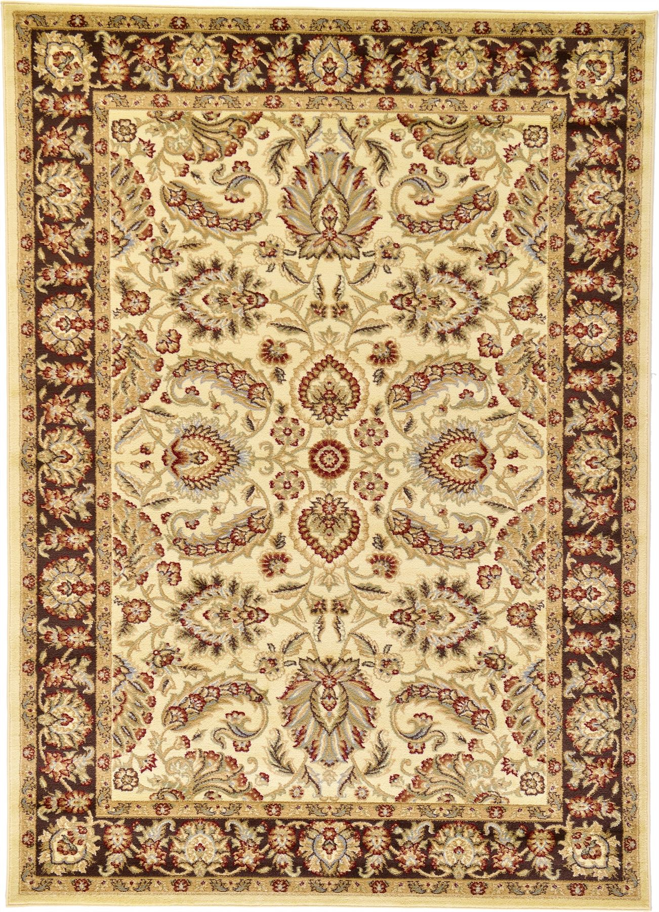 Traditional area rug floral persian desigh large red cream for Cream and red rugs