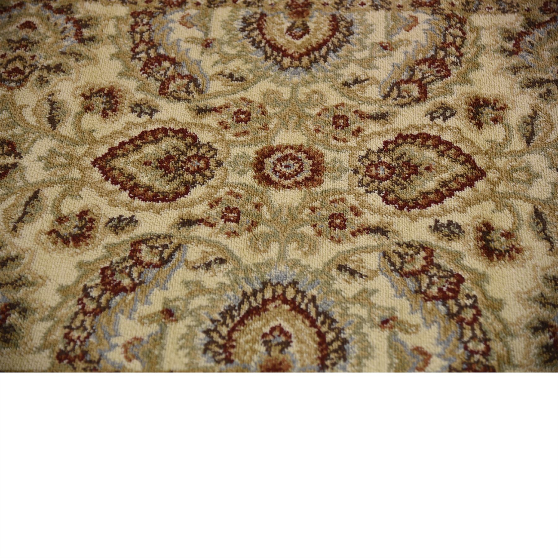 Traditional area rug floral persian design large red cream for Large red area rugs