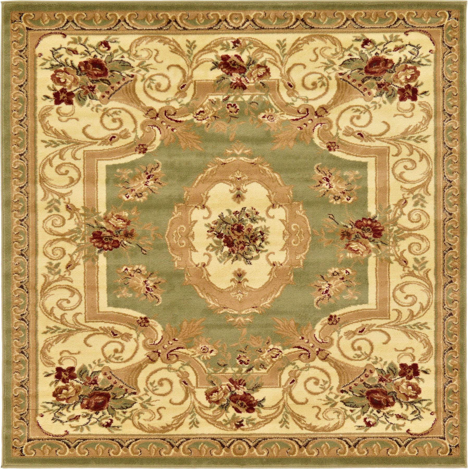 Oriental-Large-Area-Rug-Square-Traditional-Country-Round-Carpet-Medallion-Small thumbnail 29