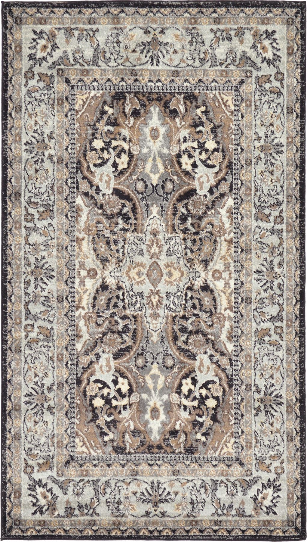 Traditional Persian Style Brown Grey Area Rug Large Black
