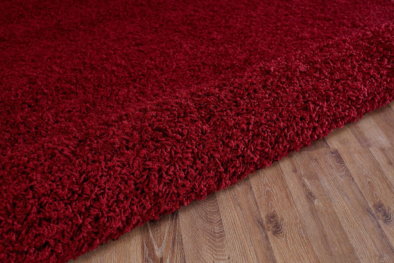 Red shaggy area rug modern soft carpet contemporary plain for Red area rugs contemporary