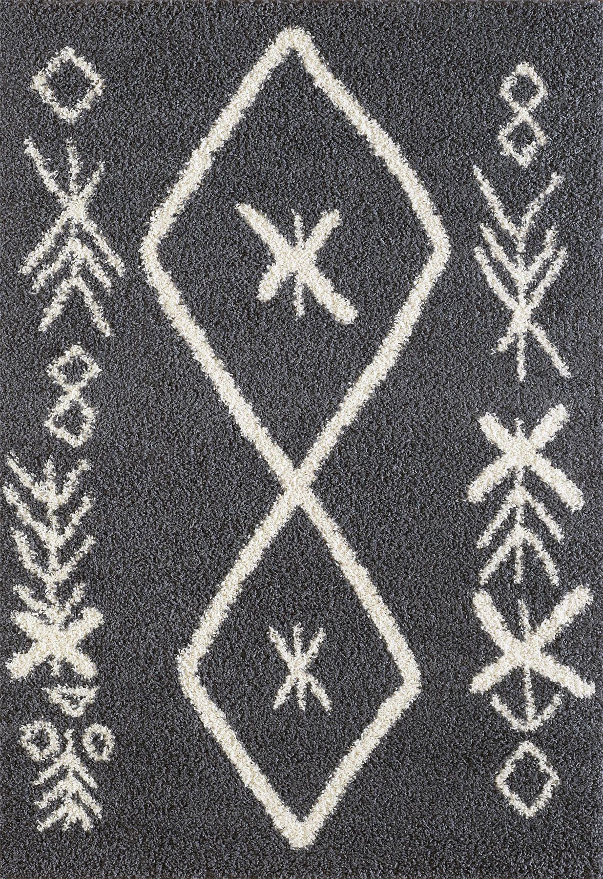 A2Z-Tappeto-Grande-Nero-Bianco-Grigio-Crema-Shaggy-tradizionale-Marocchino-Tribal-3cm-Pile miniatura 10