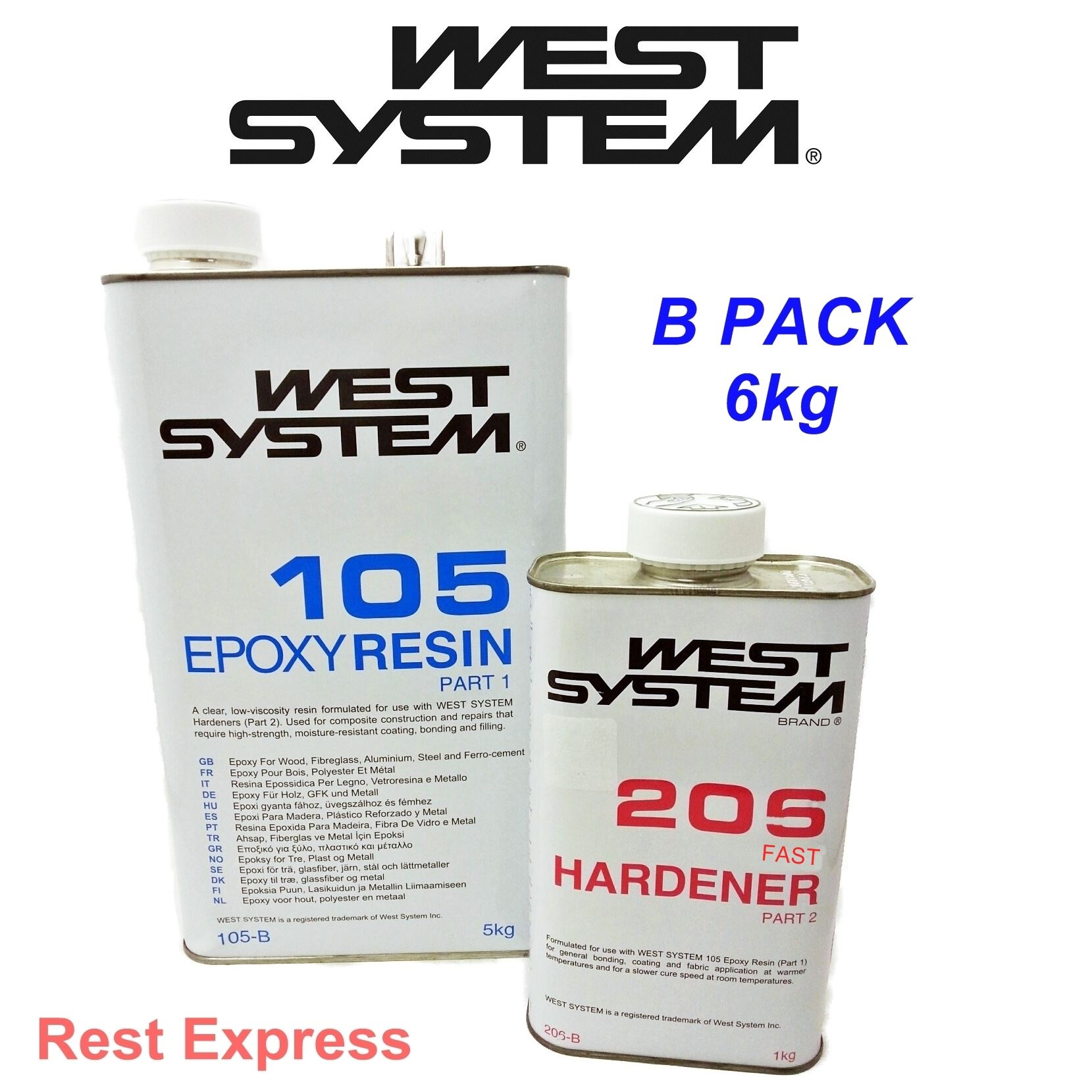 West System Epoxy B Pack 5kg 105 Resin and 1kg of 205 Hardener