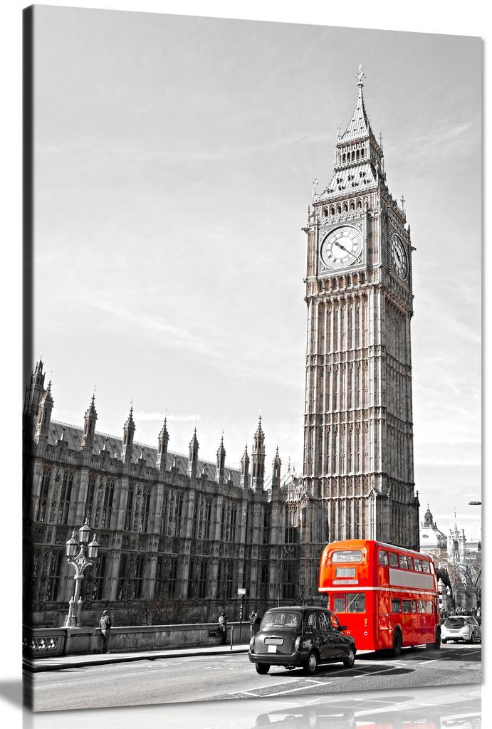 BLACK AND WHITE RED BUS PHONEBOX LONDON BIG BEN PRINT  PICTURE POSTER ART