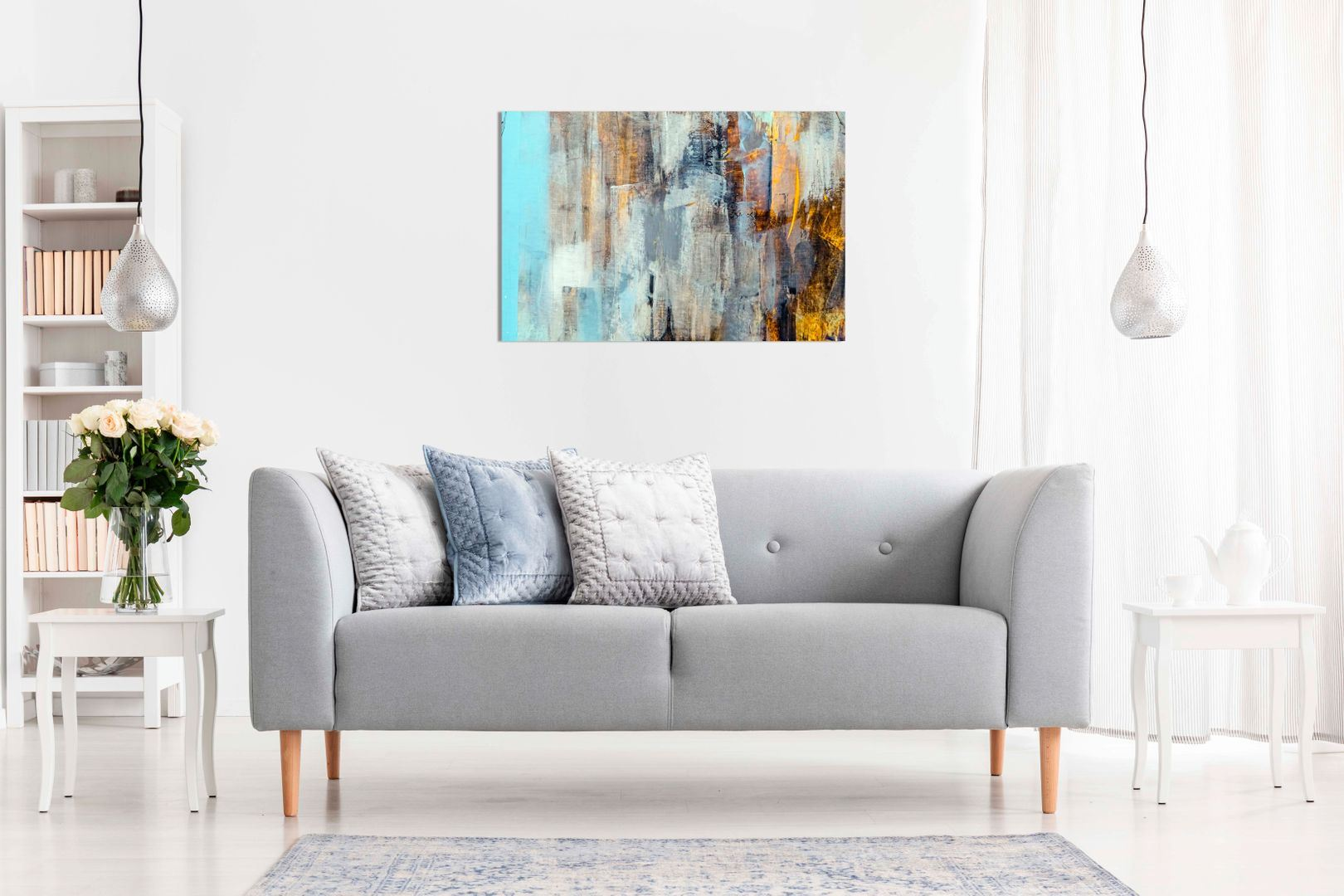 AB1000 Modern Contemporary Green Canvas Wall Art Abstract Picture Large Print