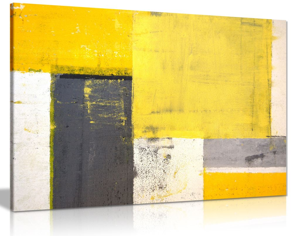 Details about abstract modern yellow grey painting canvas wall art picture print