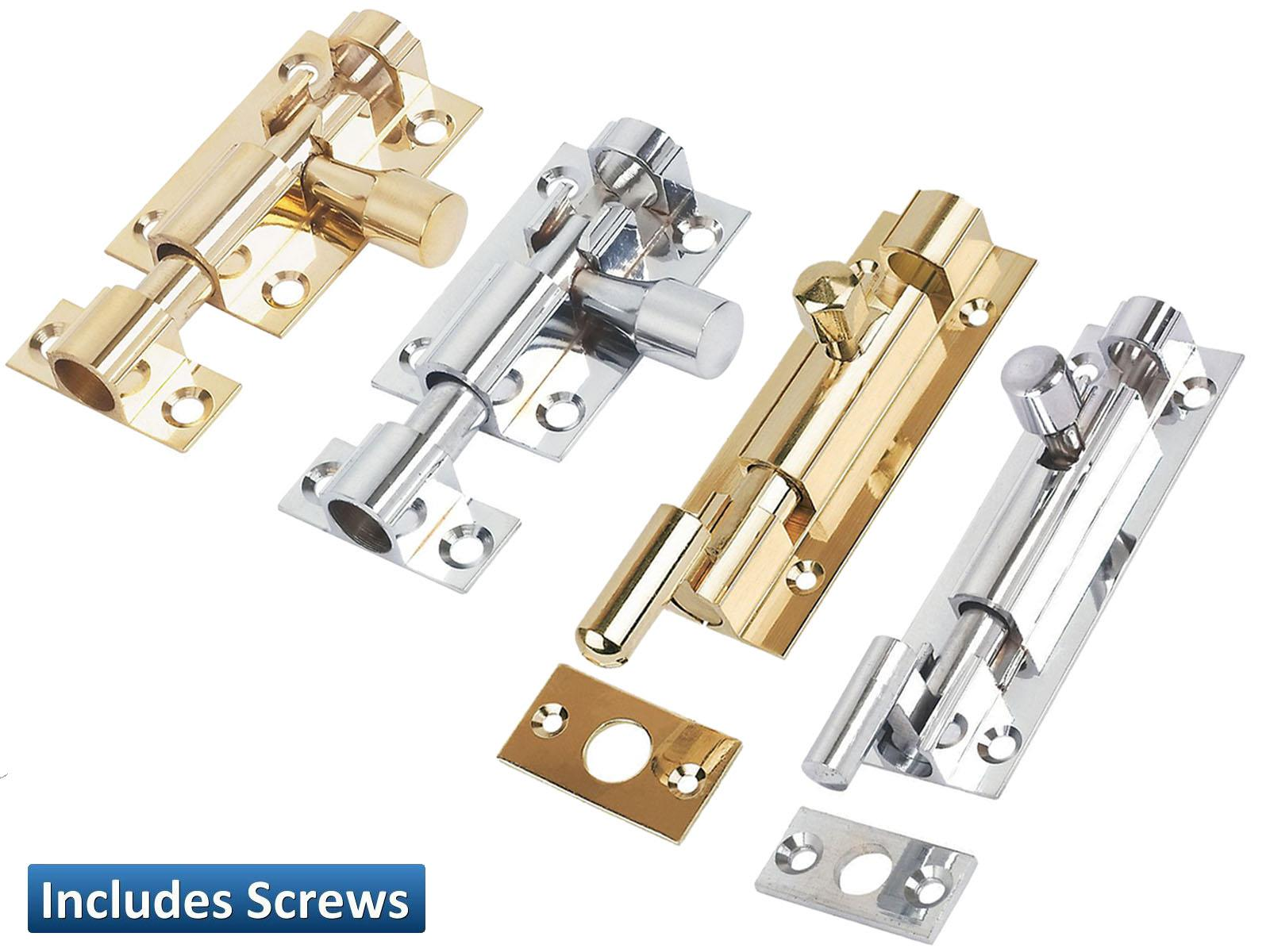 "2/"" 3/"" 4/"" Straight Door Bolt Brass//Chrome Bathroom Latch Lock Cupboards"