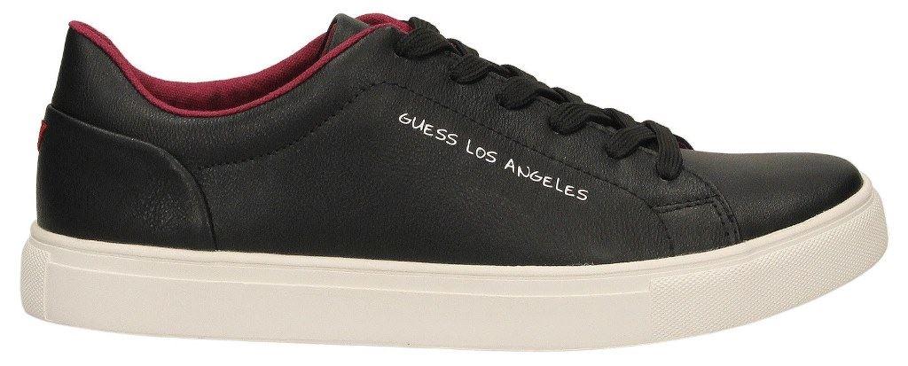 Guess Noir Luiss Noir Guess Blanc Rouge Cuir Hommes Baskets Chaussures 43d5bc