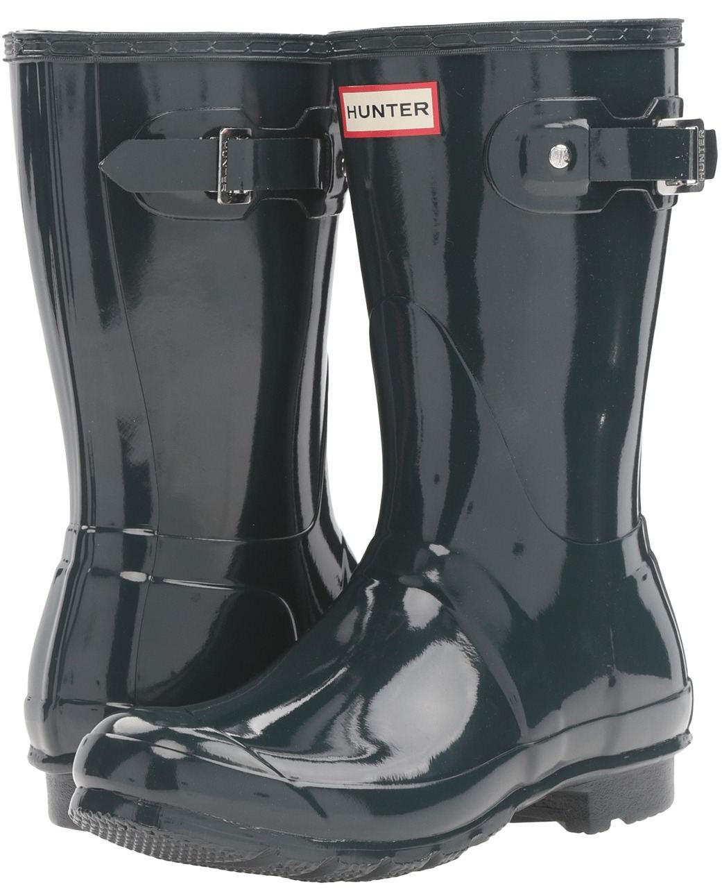 Hunter Orignal Short Dark Grün Gloss Damens Damens Gloss Wellington Stiefel 2b2632