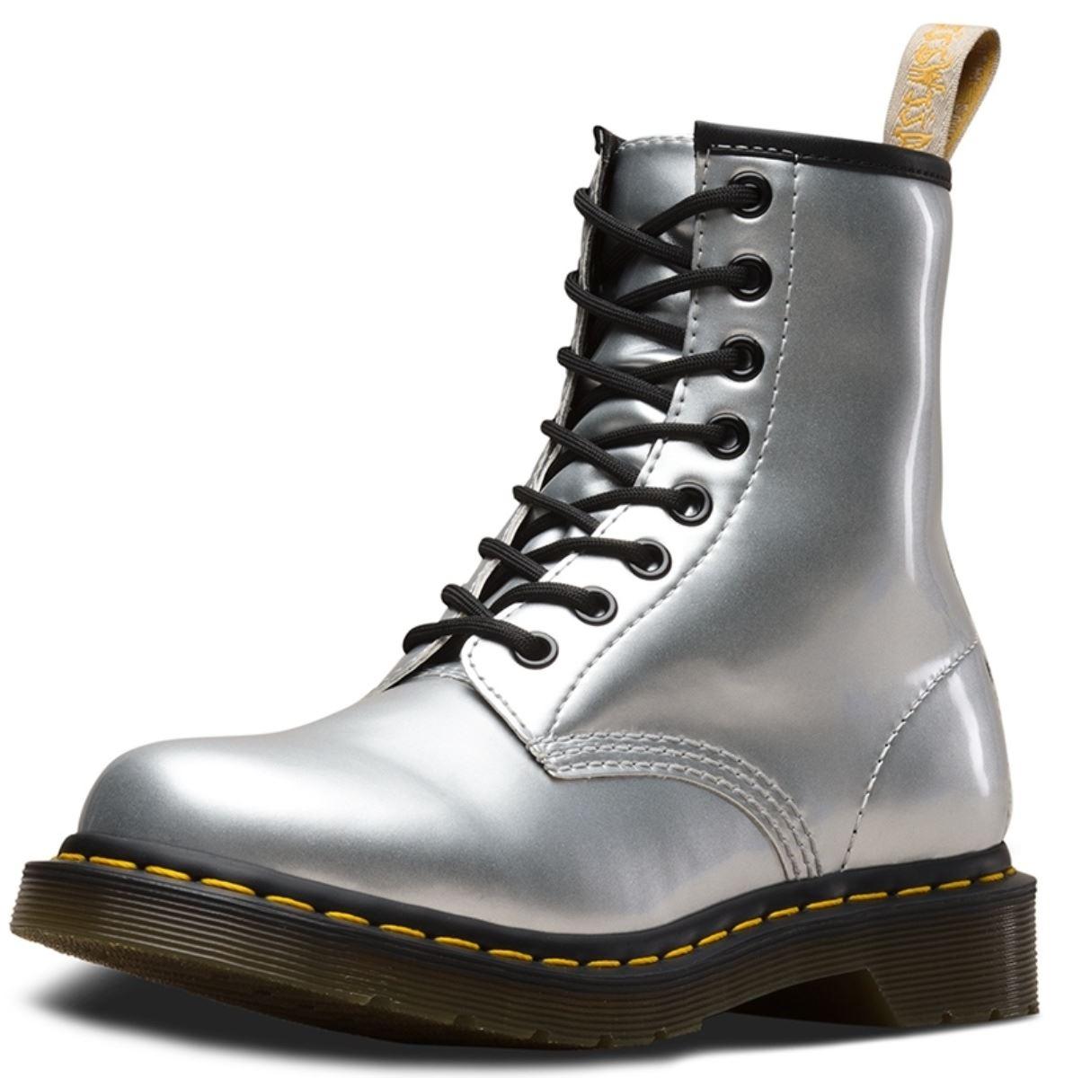 Dr Martens 1460 Vegan Silver Chrome Paint Metallic 8 eyelets Womens Boots