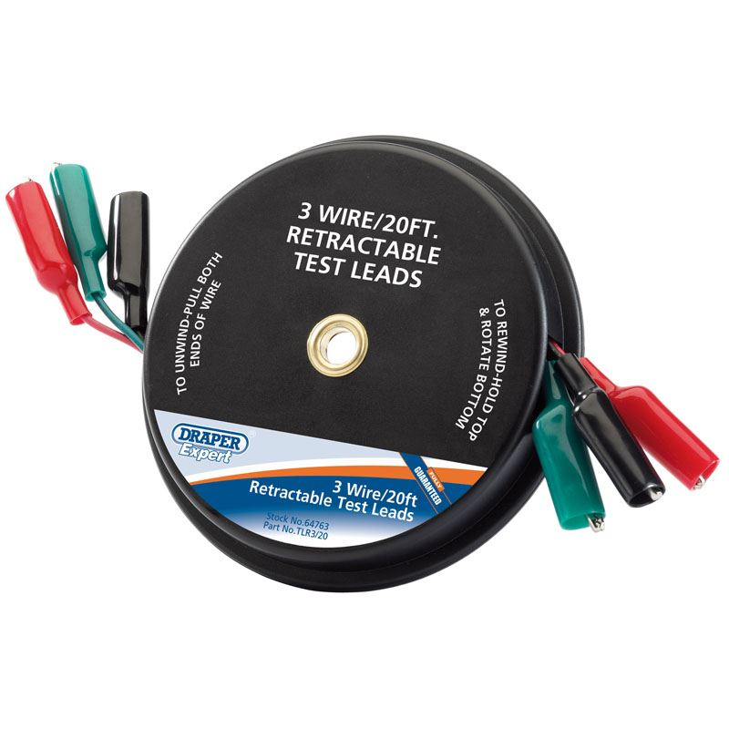 Draper Expert 20ft 3 Wire Retractable Test Leads 64763 5010559647637 ...