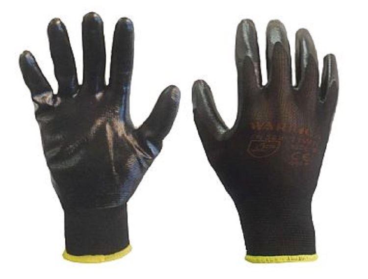 24 Pairs Black Nylon Nitrile Coated Safety Work Gloves Builders Grip Gardening