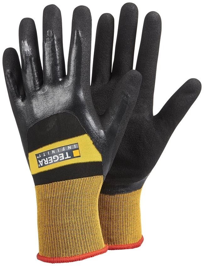 TEGERA 3//4 Nitrile Coated Work Gloves With Safety Dot Grip Palm S M L XL XXL