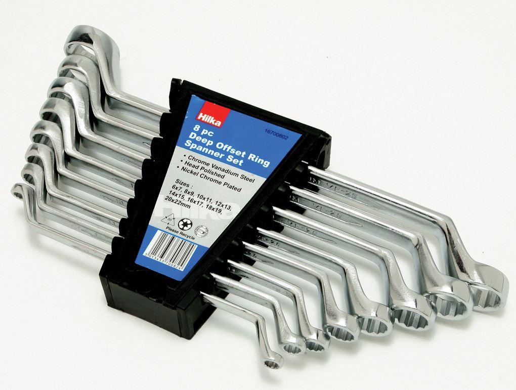 22mm 8 Piece Deep Offset Ring Spanner Set Metric 6mm