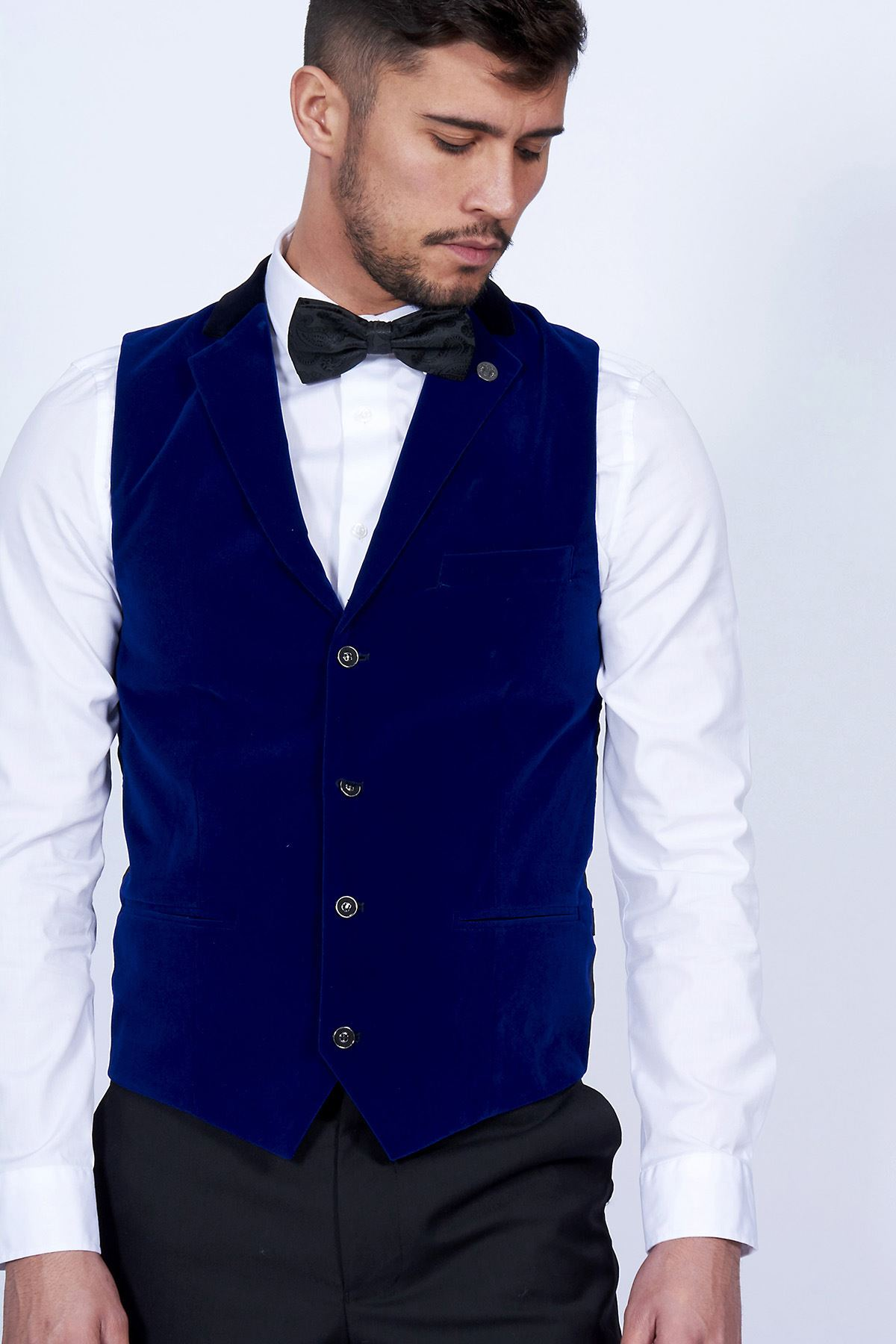 ebd7dbb4e1d5 Details about Mens Collared Velvet Waistcoat Marc Darcy Formal Casual  Tailored Party Vest