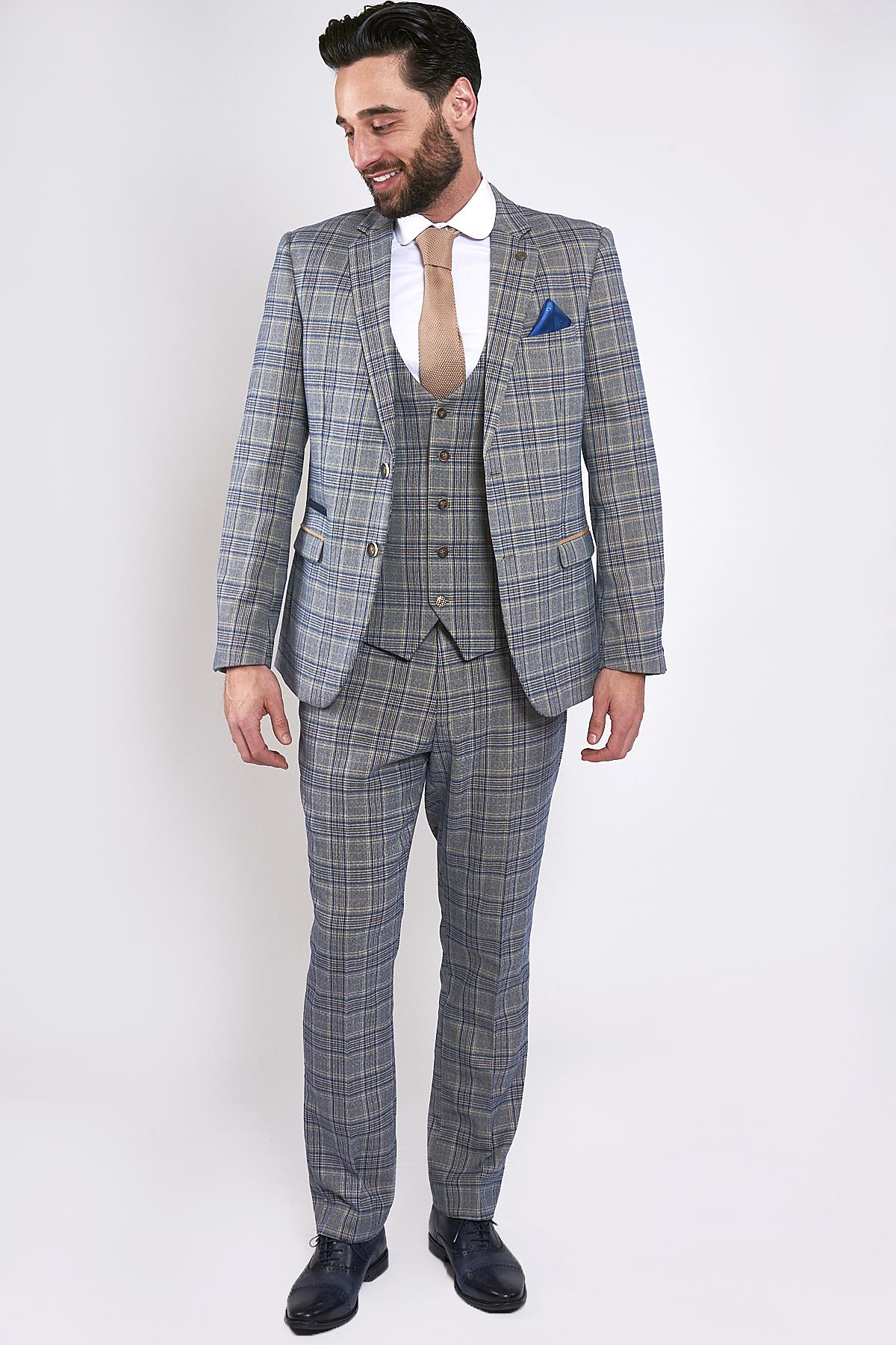 2019 original beautiful design special for shoe Details about Mens Marc Darcy Blue Stone Tweed Check Three Piece Suit Size  34-52