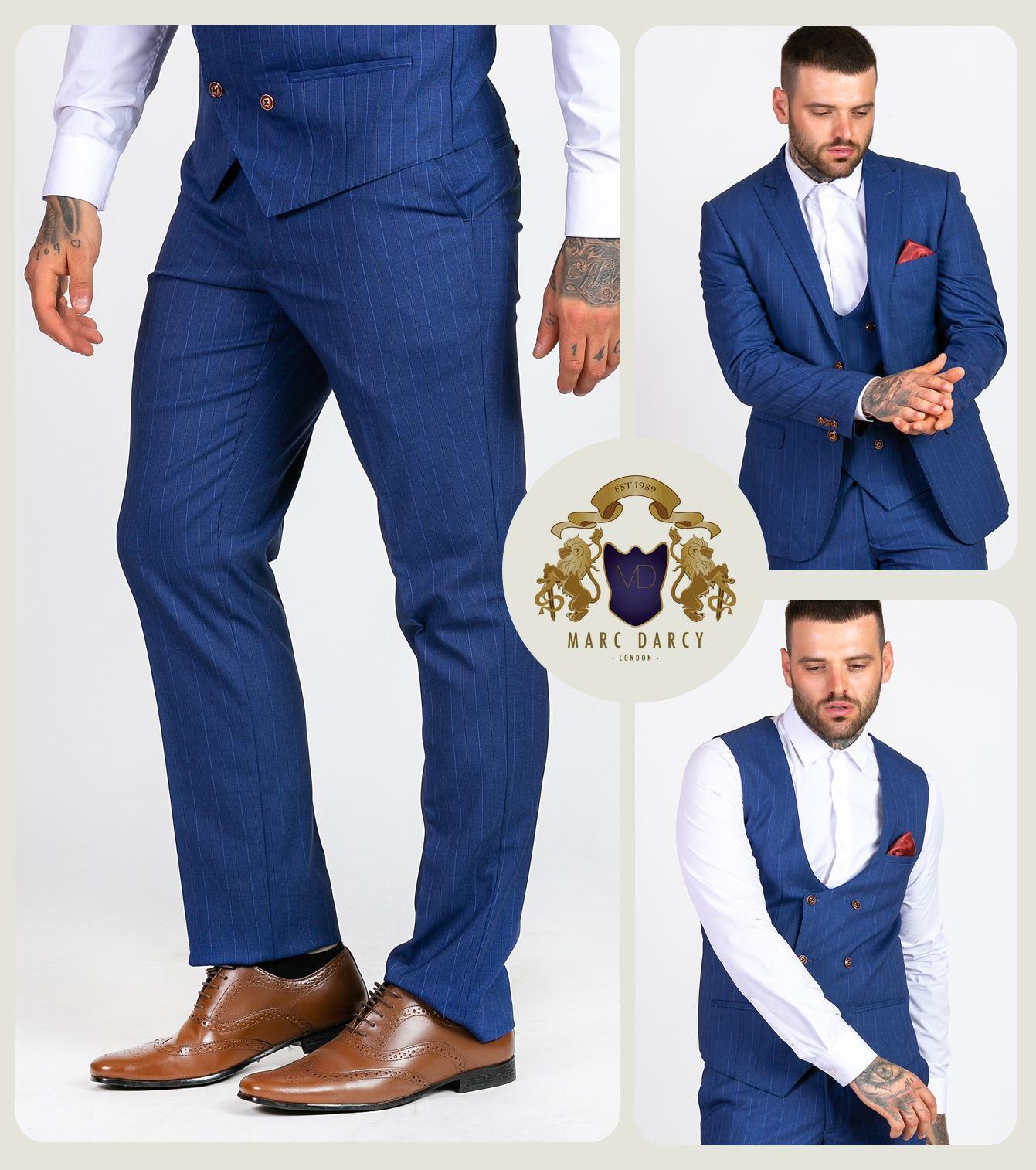 Mens Marc Darcy Pinstripe Trousers Slim Fit Formal Work Business Wedding Pants