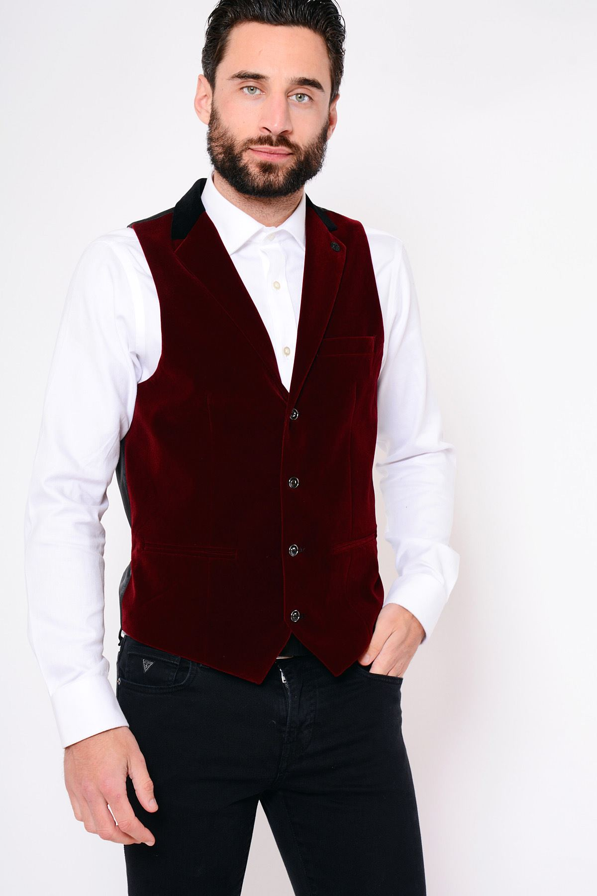 460e44484cdd Details about Mens Wine Collared Velvet Waistcoat Marc Darcy Formal Casual  Tailored Party Vest