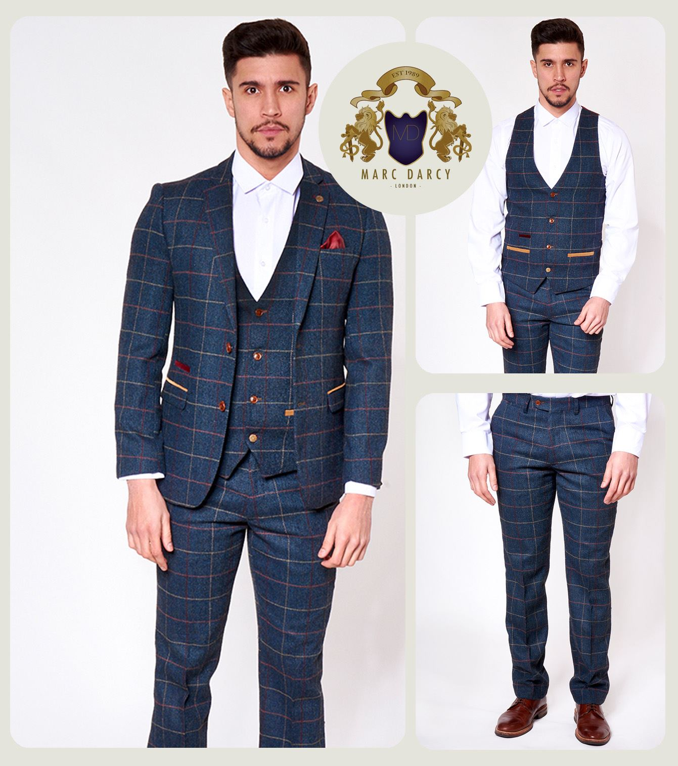 Mens Marc Darcy Tweed Blazer Waistcoat Trouser 2//3 Piece Slim Fit Herringbone