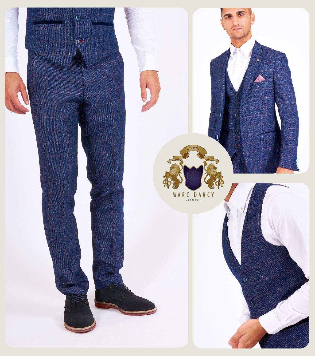 Mens Marc Darcy 3 Piece Suit Blazer Waistcoat Trousers Slim Fit Tailored Smart