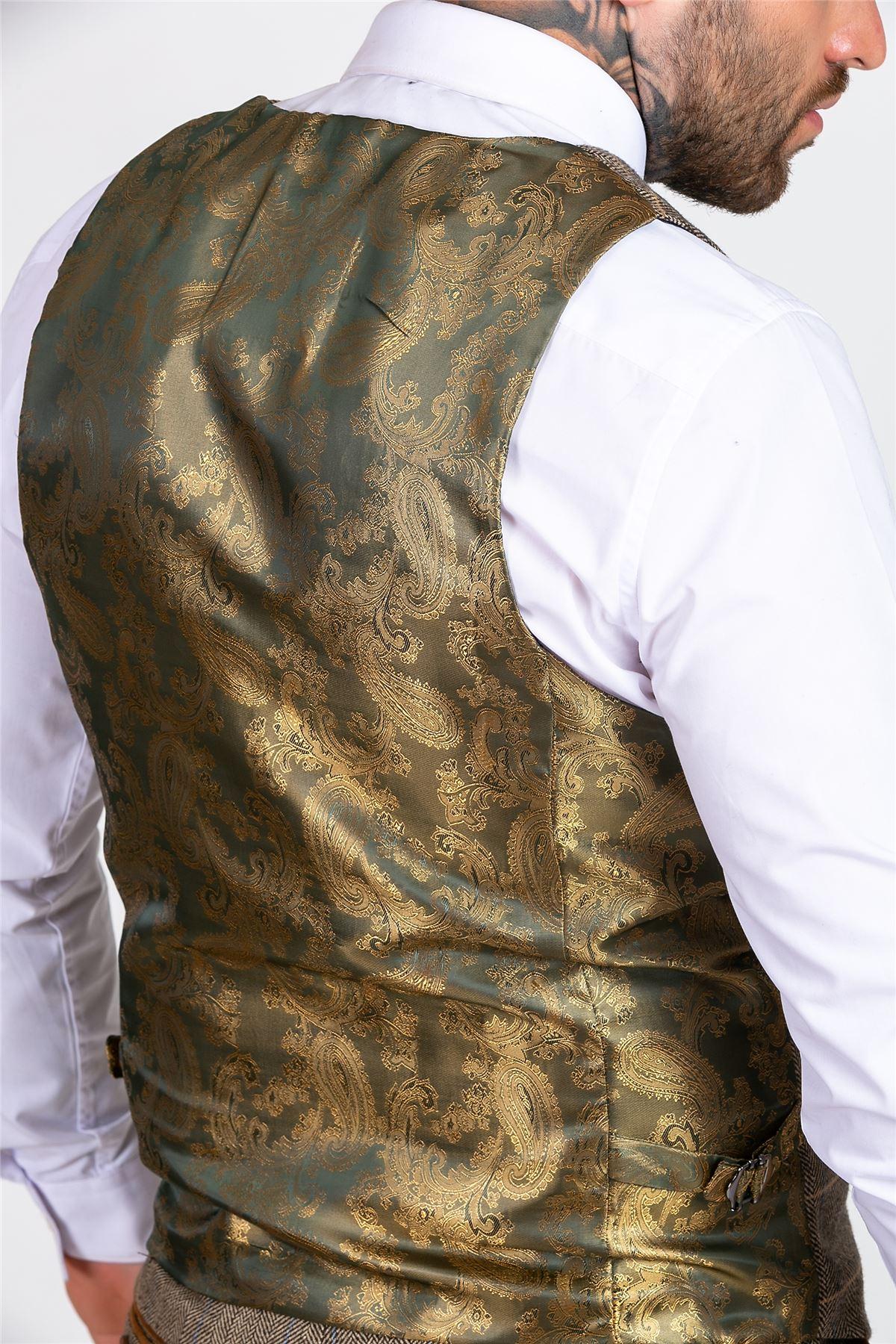 Mens Marc Darcy Tan Brown Tweed Check 3//2 Piece Blazer Waistcoat Trousers