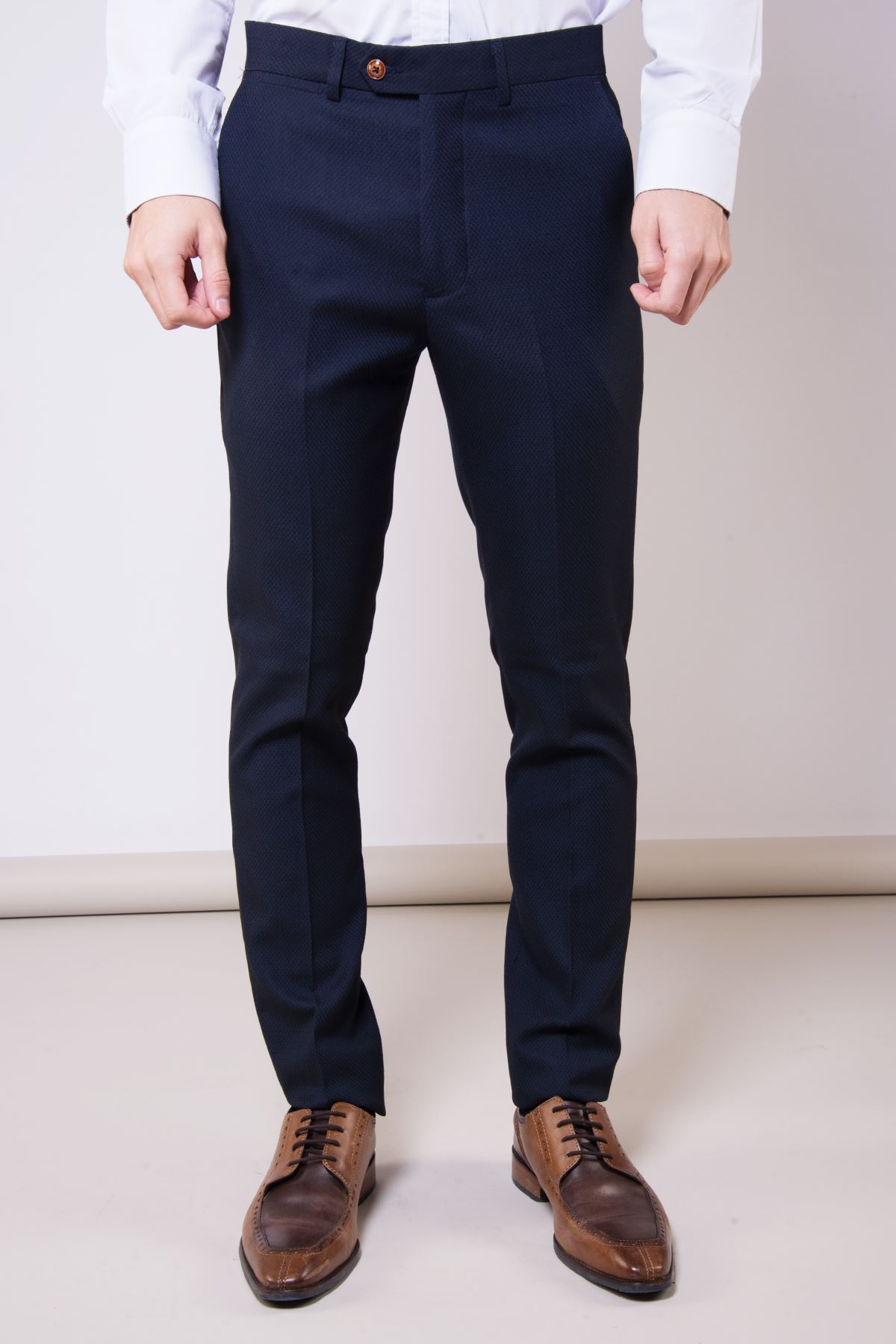 Mens Marc Darcy Navy Trouser Formal Tailored Slim Fit Work Office Dress Pants