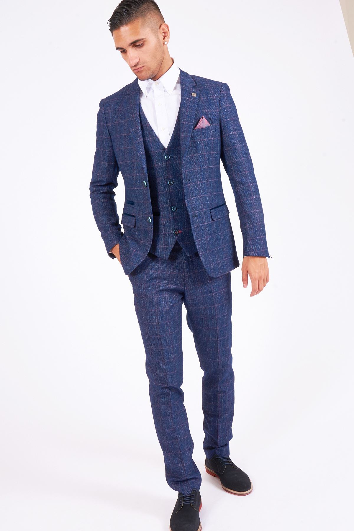 Mens Marc Darcy Designer Sky Blue Check Print Bow Tie