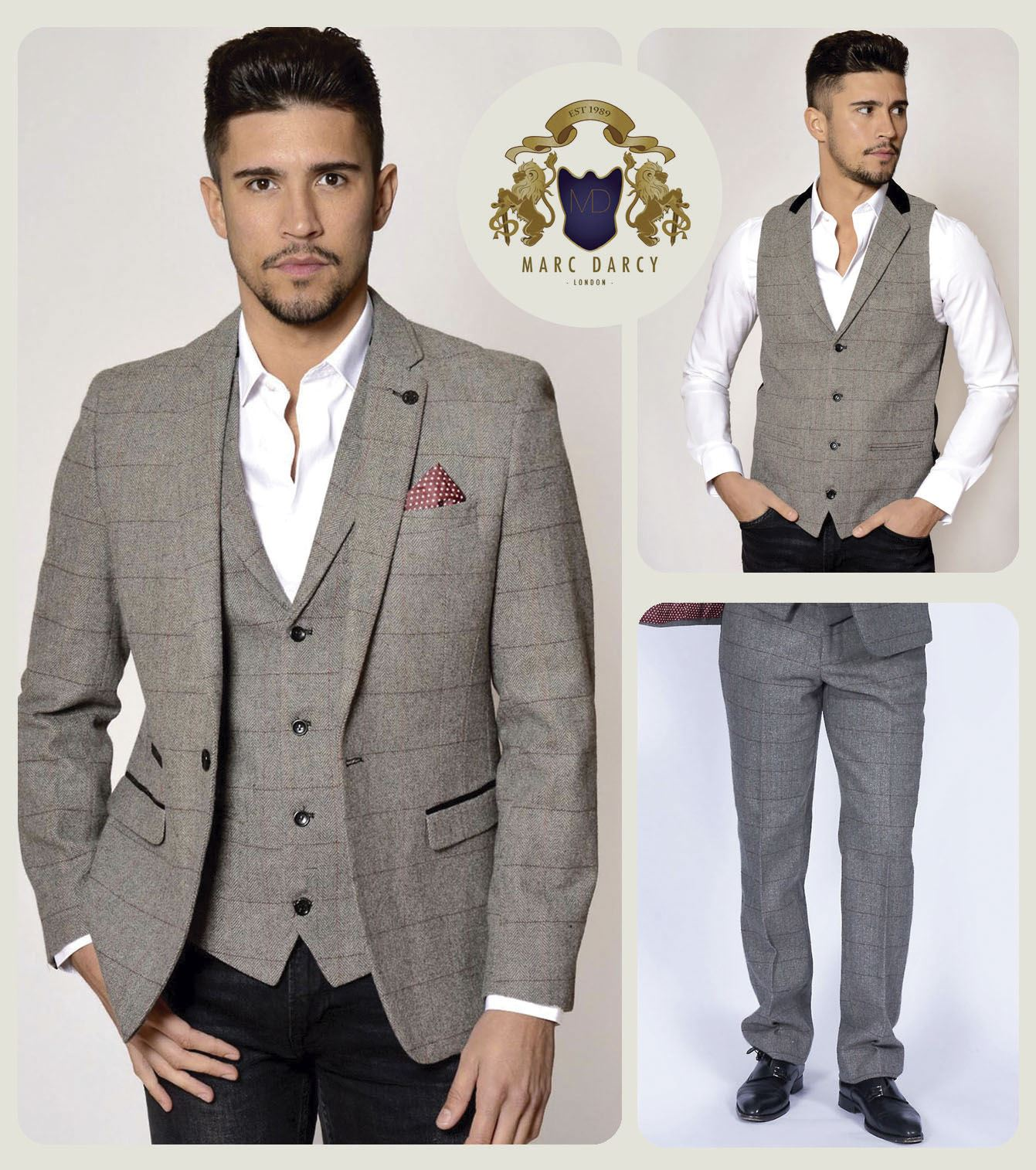 84fb1e109134 Mens Marc Darcy Designer Grey Vintage Style Tweed Blazer Waistcoat Trousers