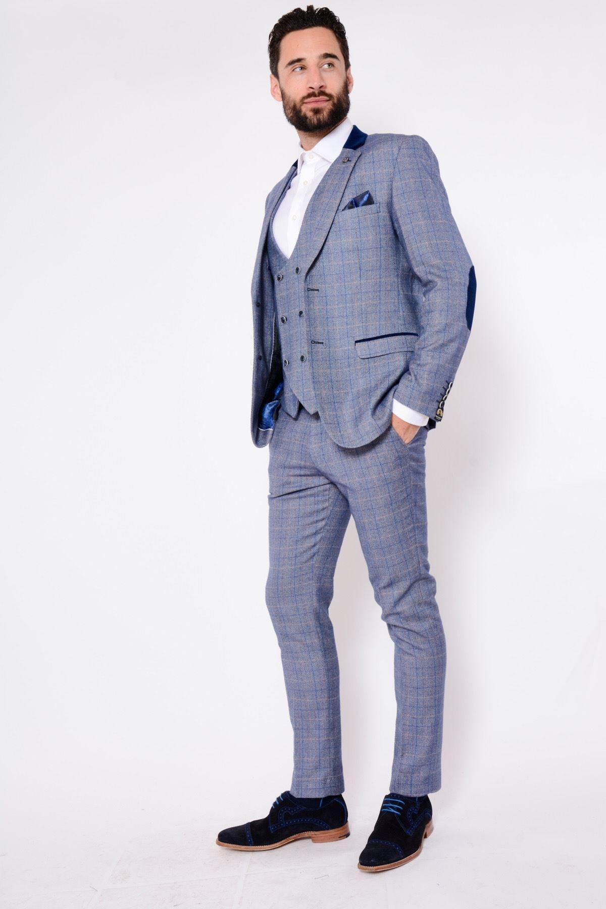 Mens Marc Darcy 3 Piece Suit Check Slim Fit Work Formal Blazer Waistcoat Trouser